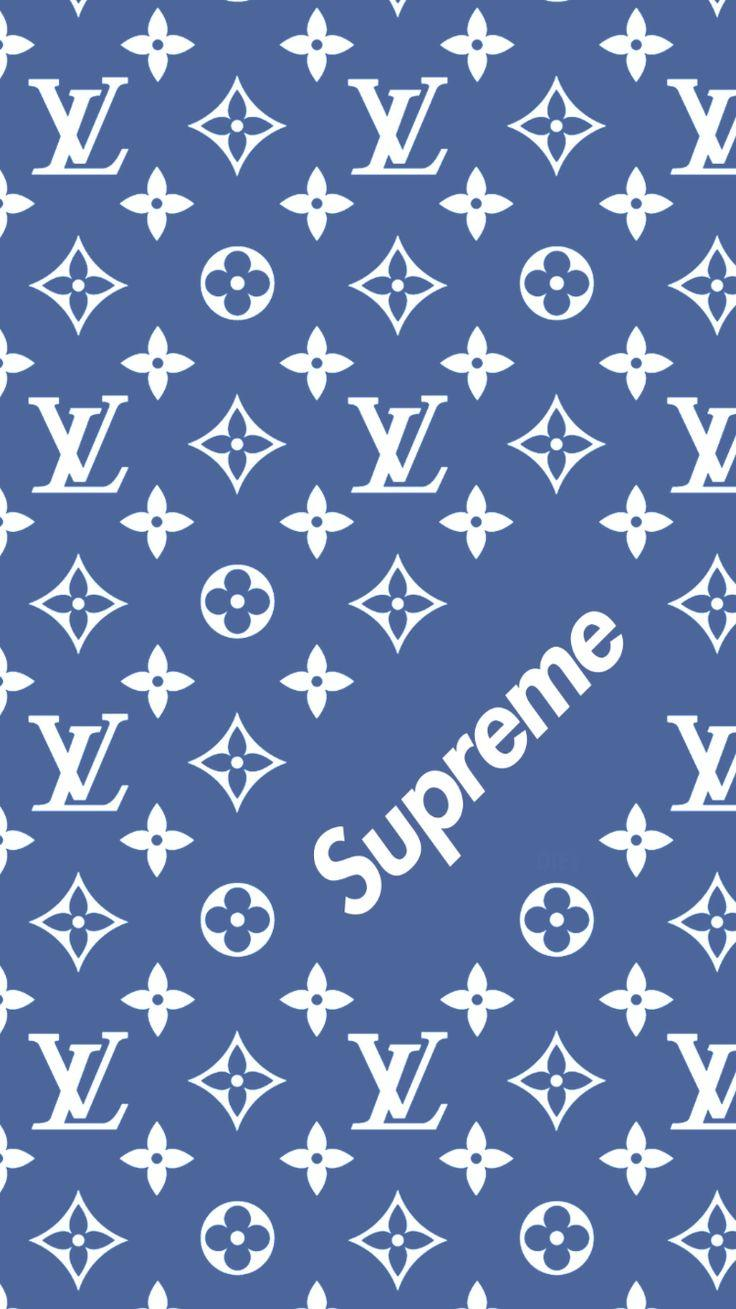 Louis Vuitton x Supreme pattern wallpapers