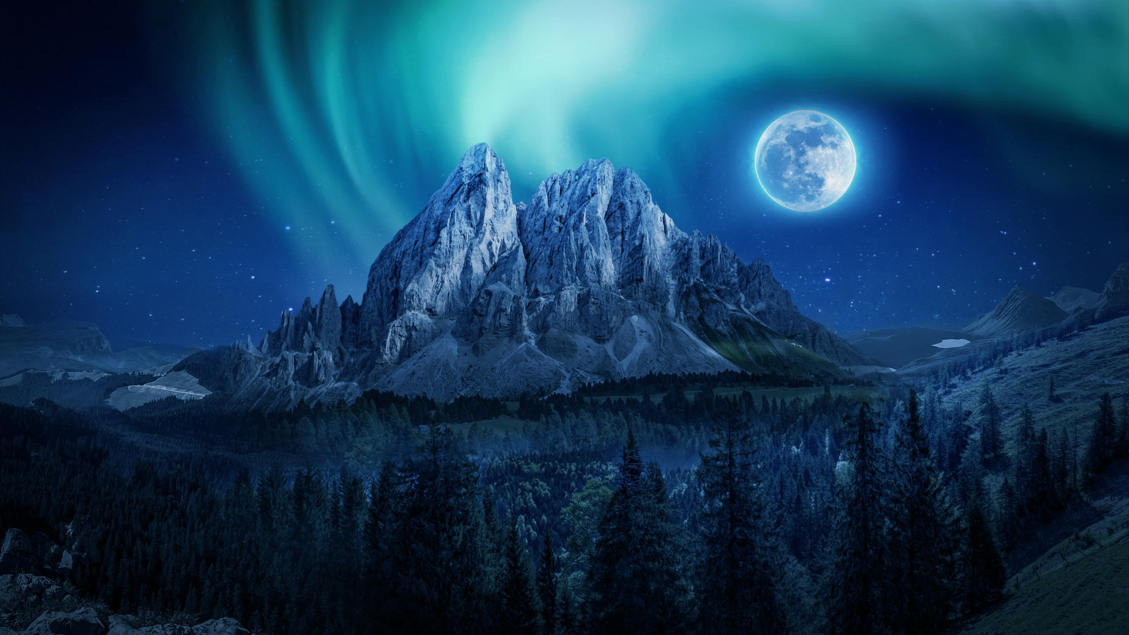 Mountain Moon Nightscape Wallpapers Wallpaper Cave