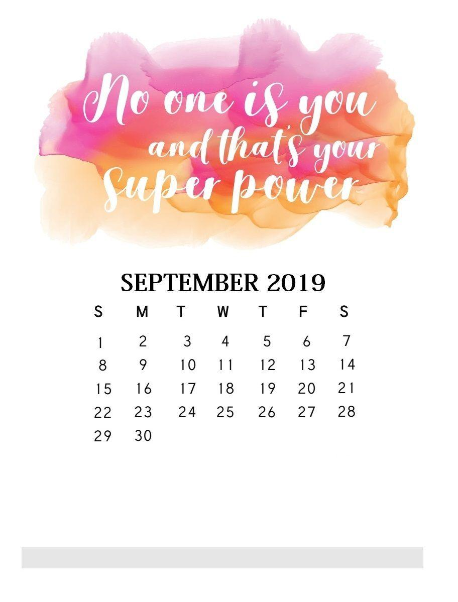 Motivational Quotes September 2019 Calendar