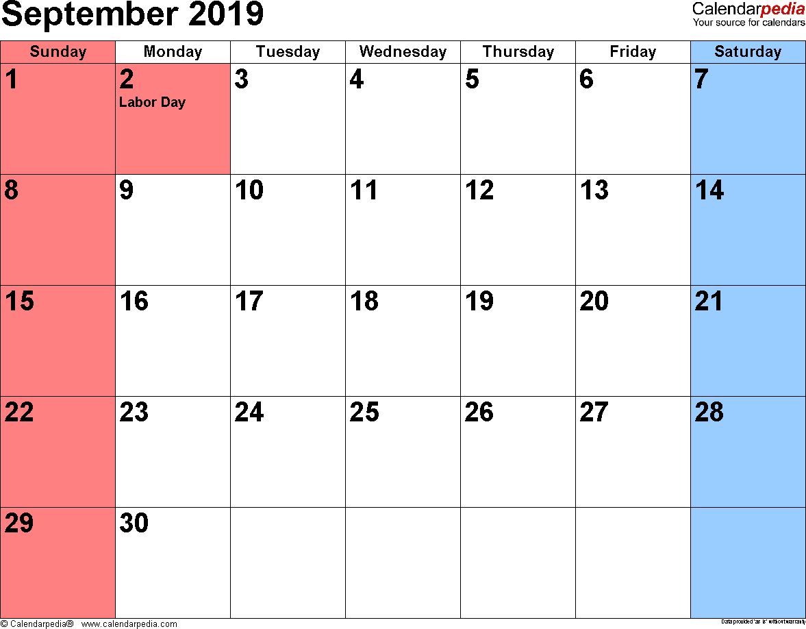 Blank September 2019 Calendar Template in Printable Editable Format