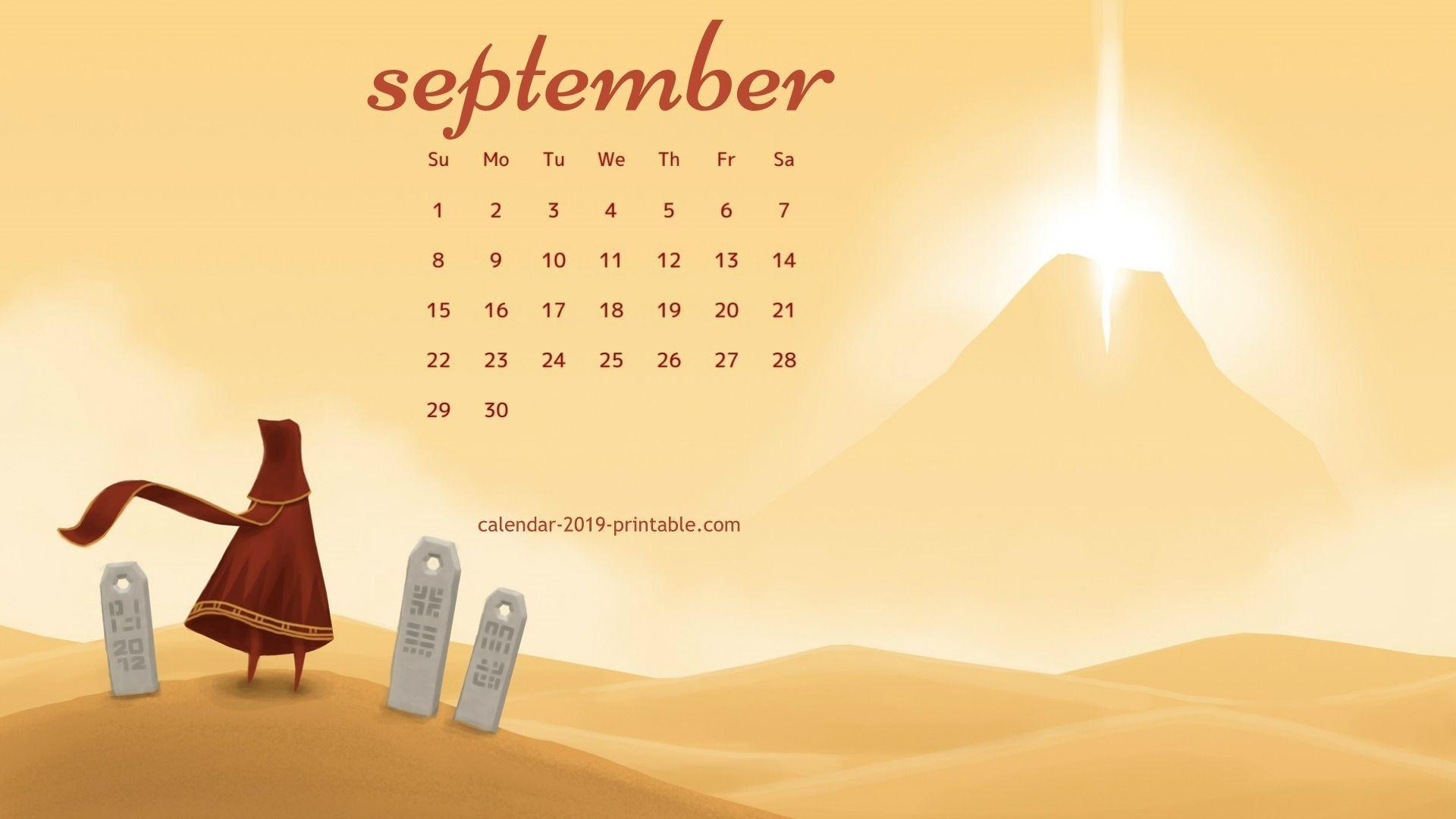 2019 Desktop Calendar Wallpapers September