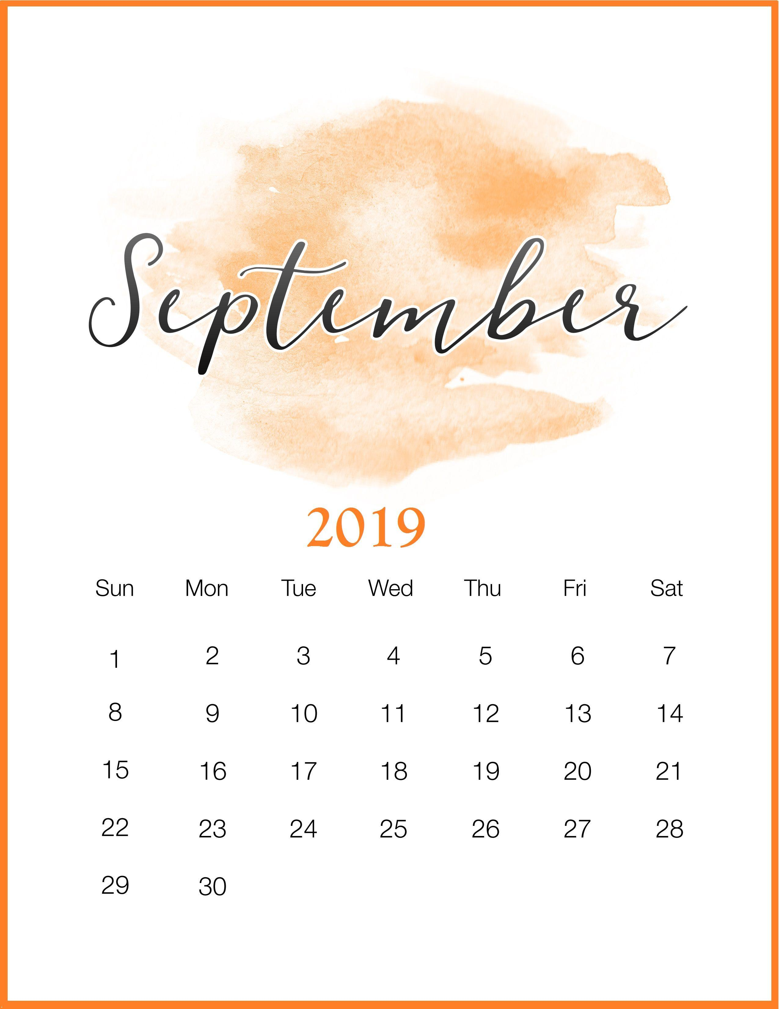 Watercolor 2019 September Printable Calendar