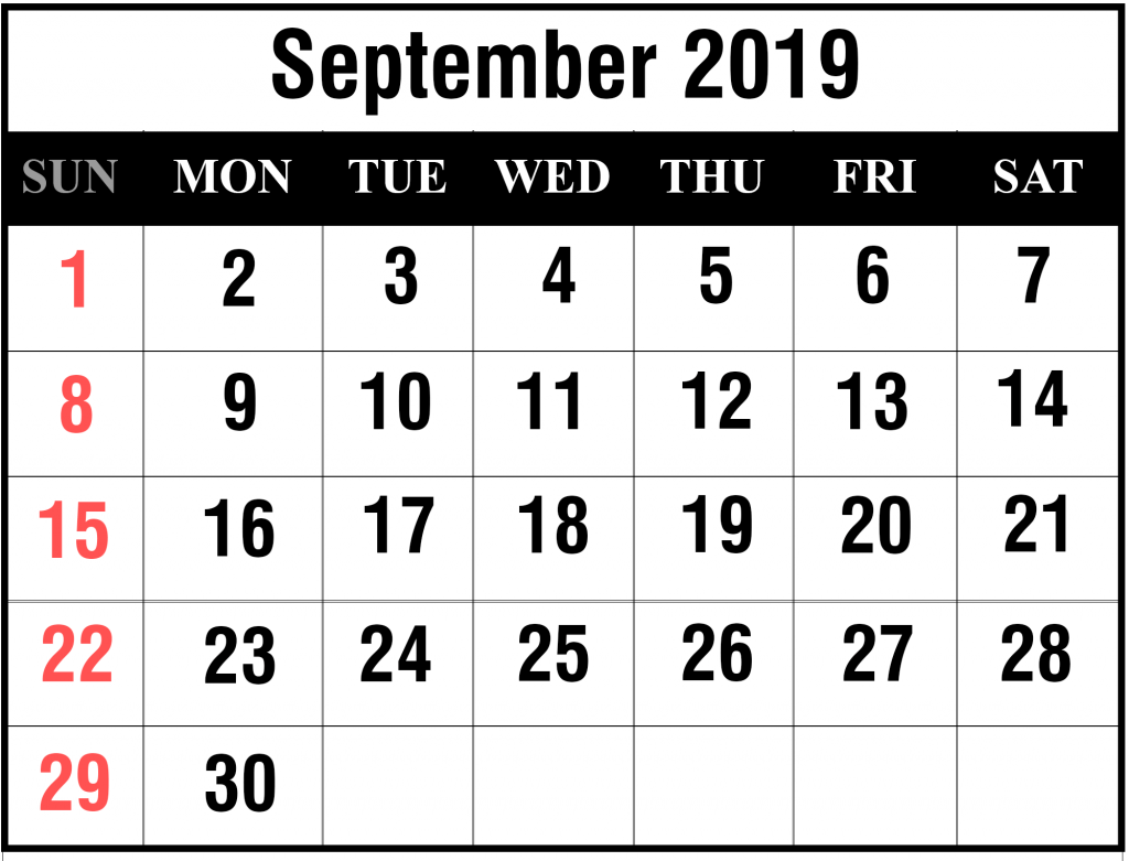 Free September 2019 Calendar Printable Blank Templates PDF Page