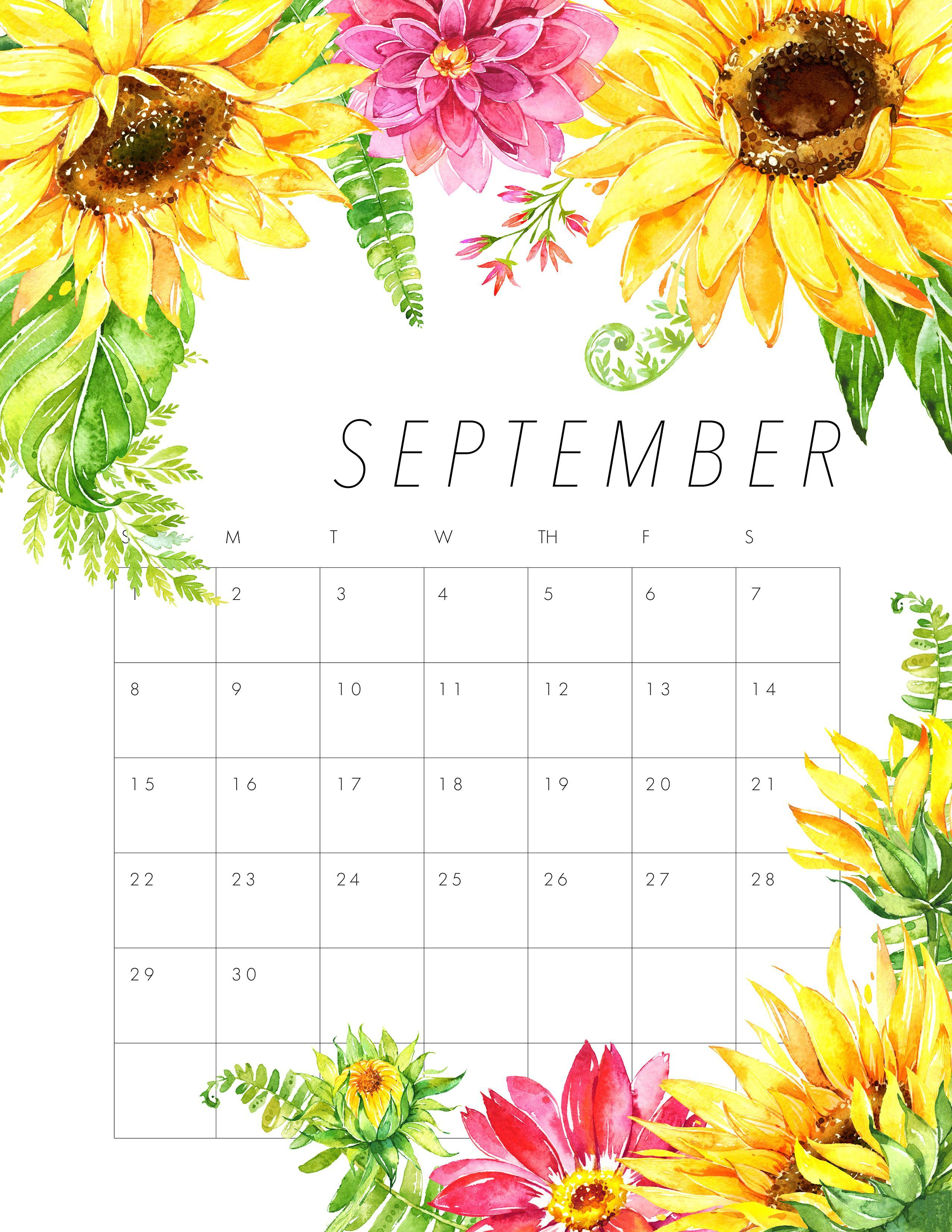 Floral September 2019 Calendar Printable Template