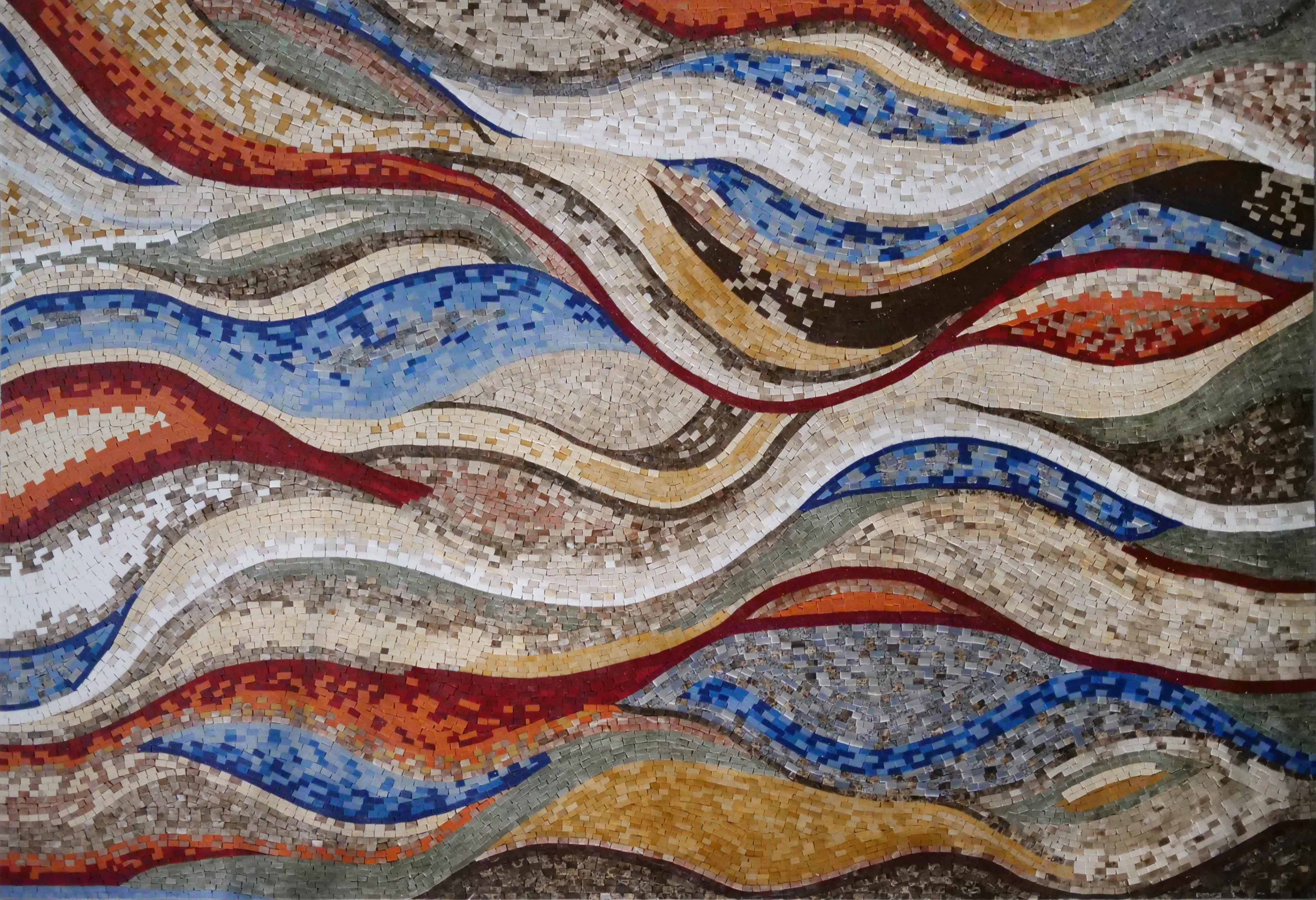 Colorful Wavy Shades Marble Mosaic Wallpapers or Floor Art