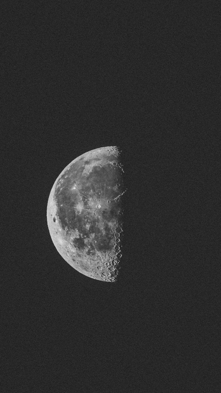 Monochrome, half moon, night, 720x1280 wallpapers