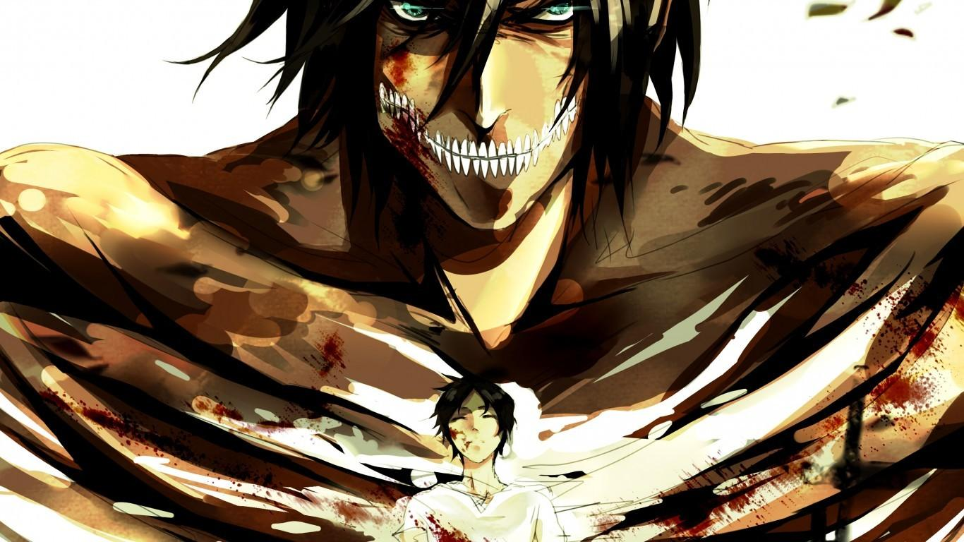 Download 1366x768 Attack On Titan, Eren Yeager, Titan, Shingeki No