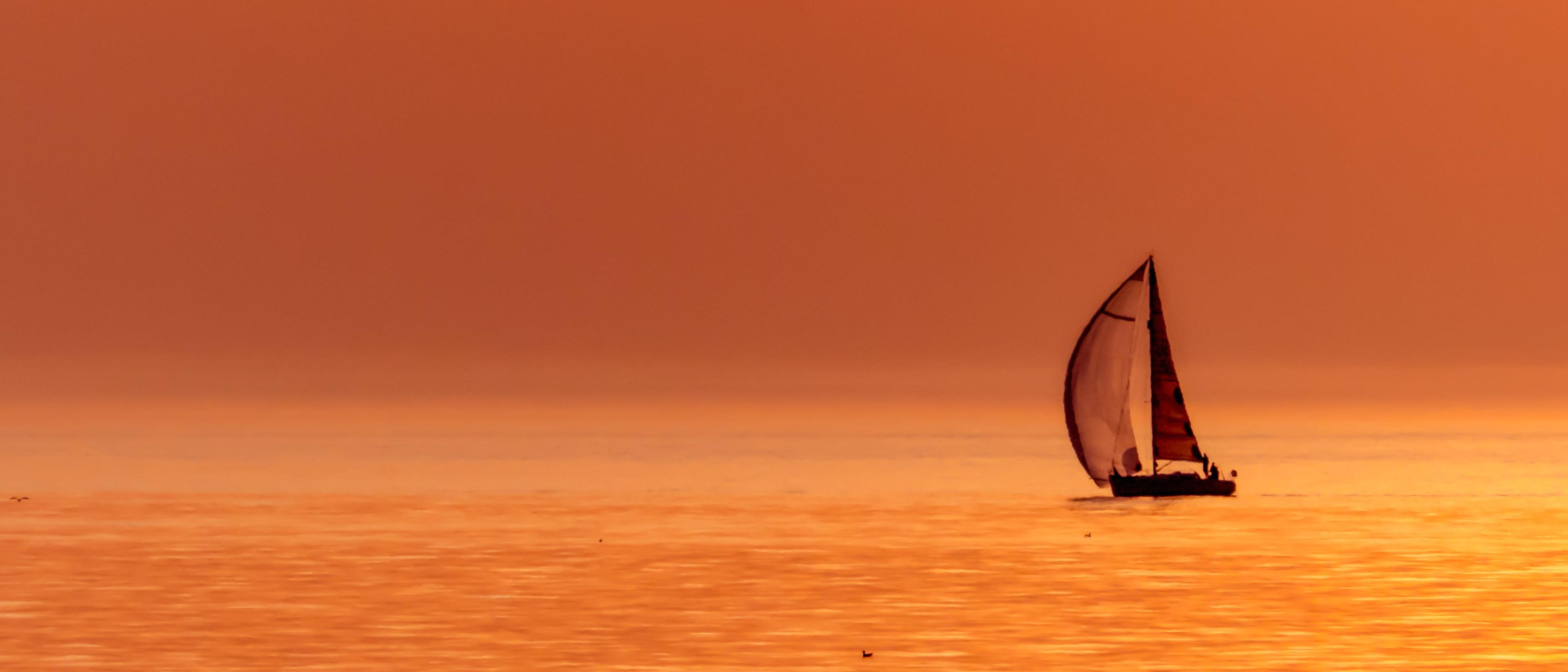 Sail boat during sunset HD wallpapers