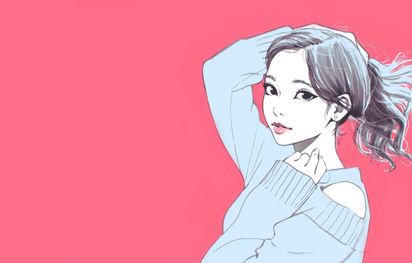 Wallpapers Pink, Girl, Ilya Kuvshinov, Aesthetic image for