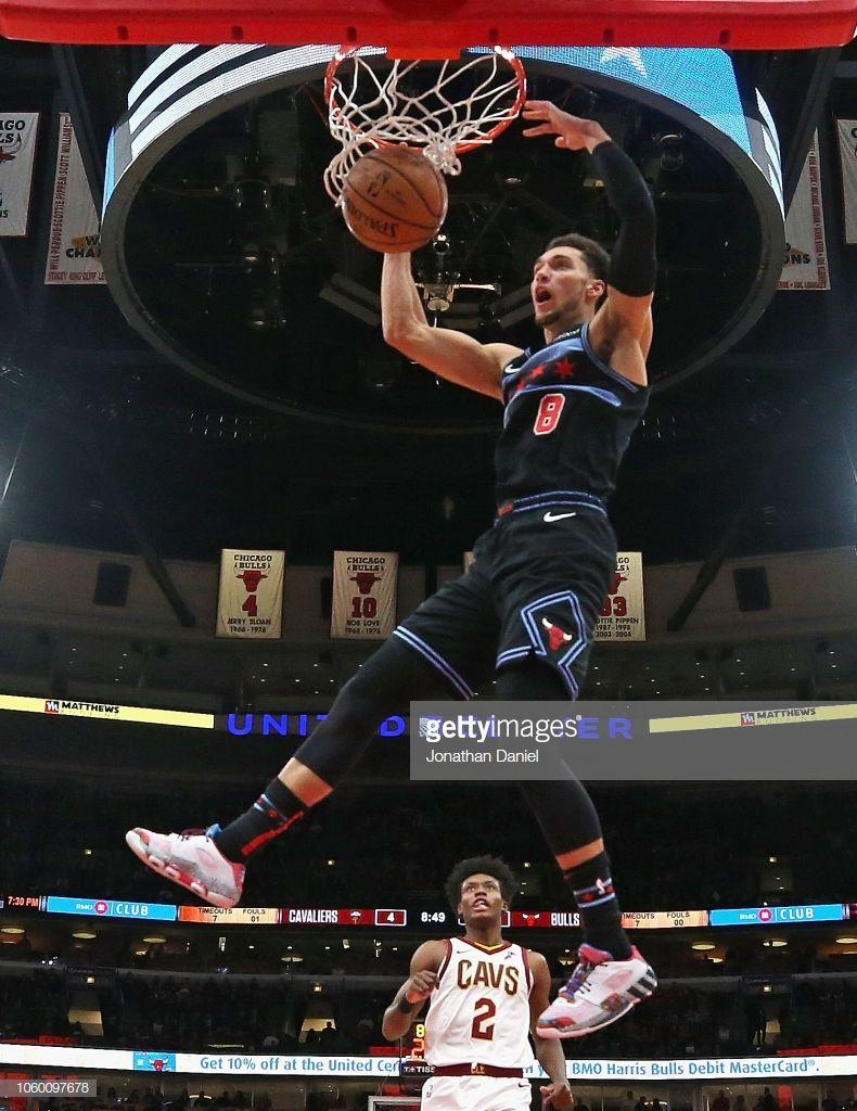 Zach LaVine of the Chicago Bulls dunks against the Cleveland