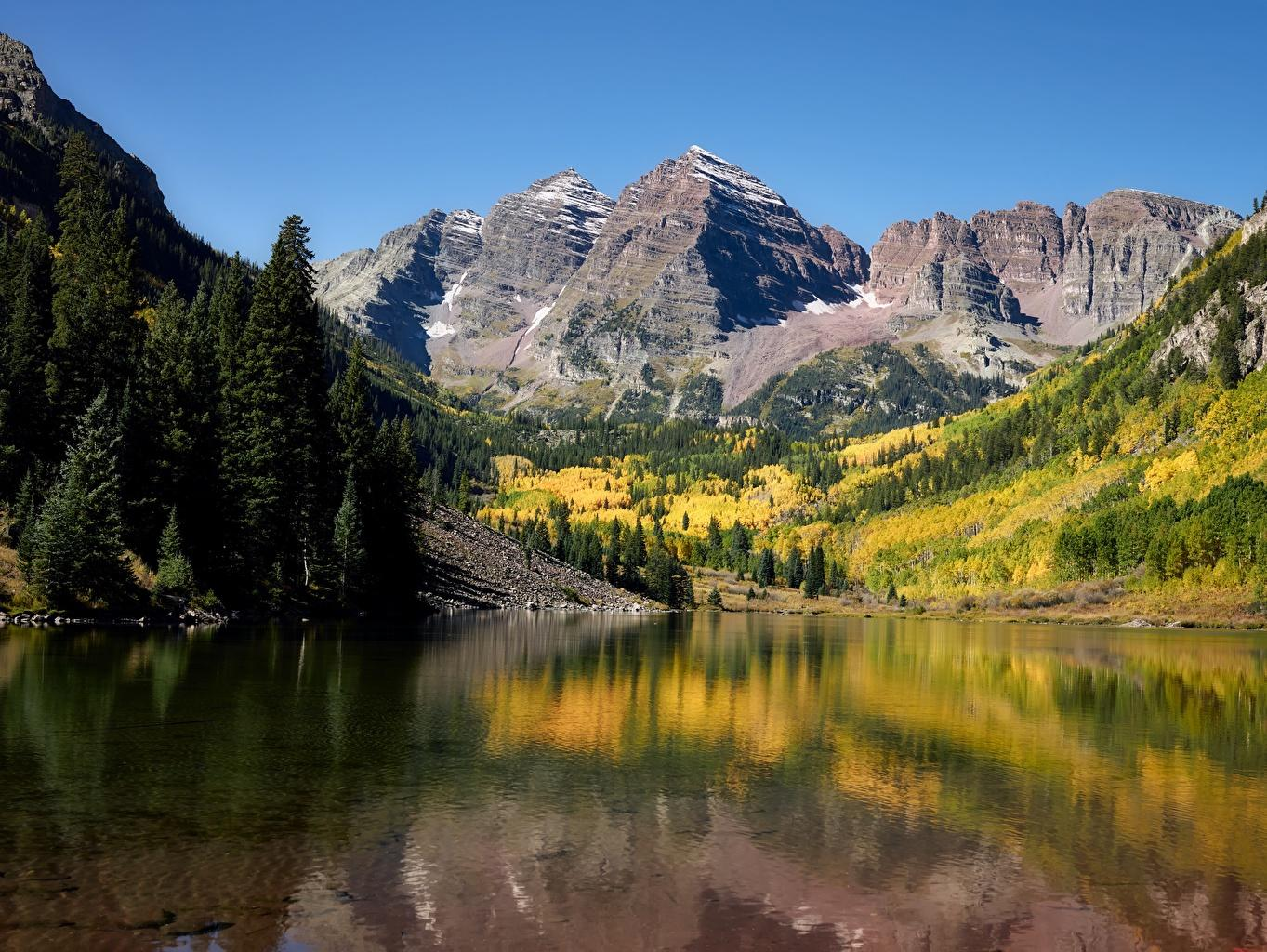 Image USA Maroon lake, Rocky Mountains, Colorado Rock