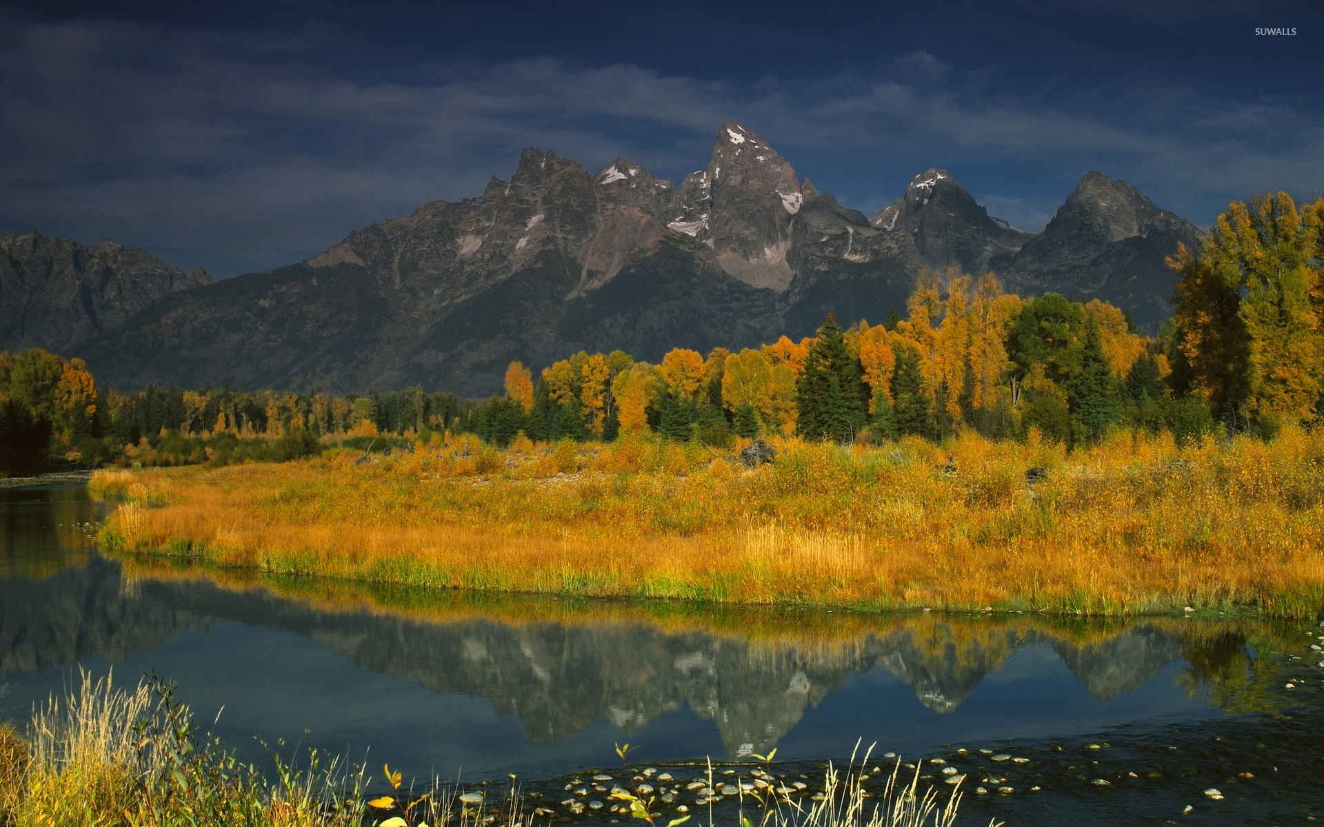 Rocky mountains behind the autumn forest wallpapers