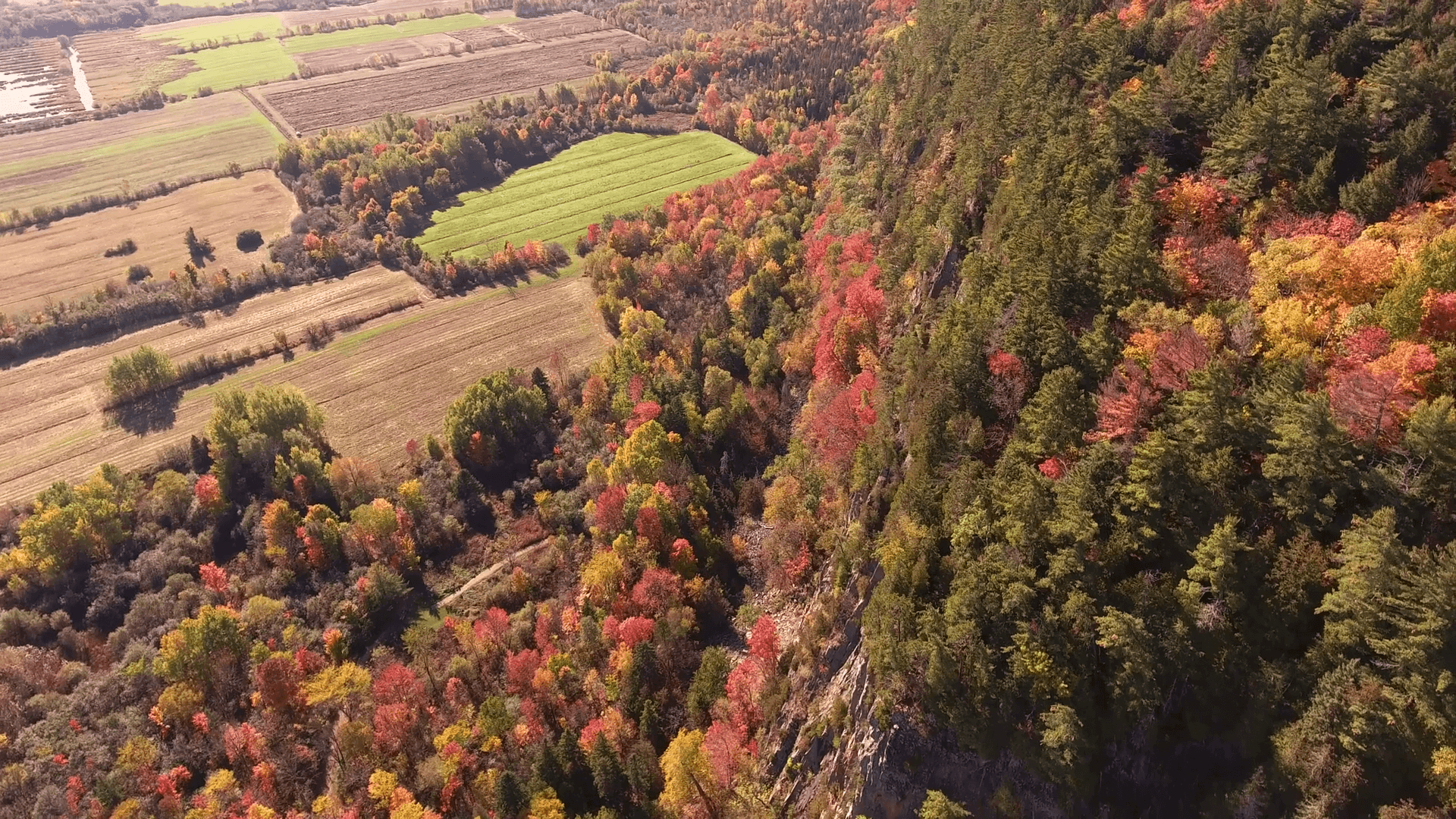 A big rocky cliff which is near agricultural fields. Filmed during an autumn sunset in Canada. Stock Video Footage