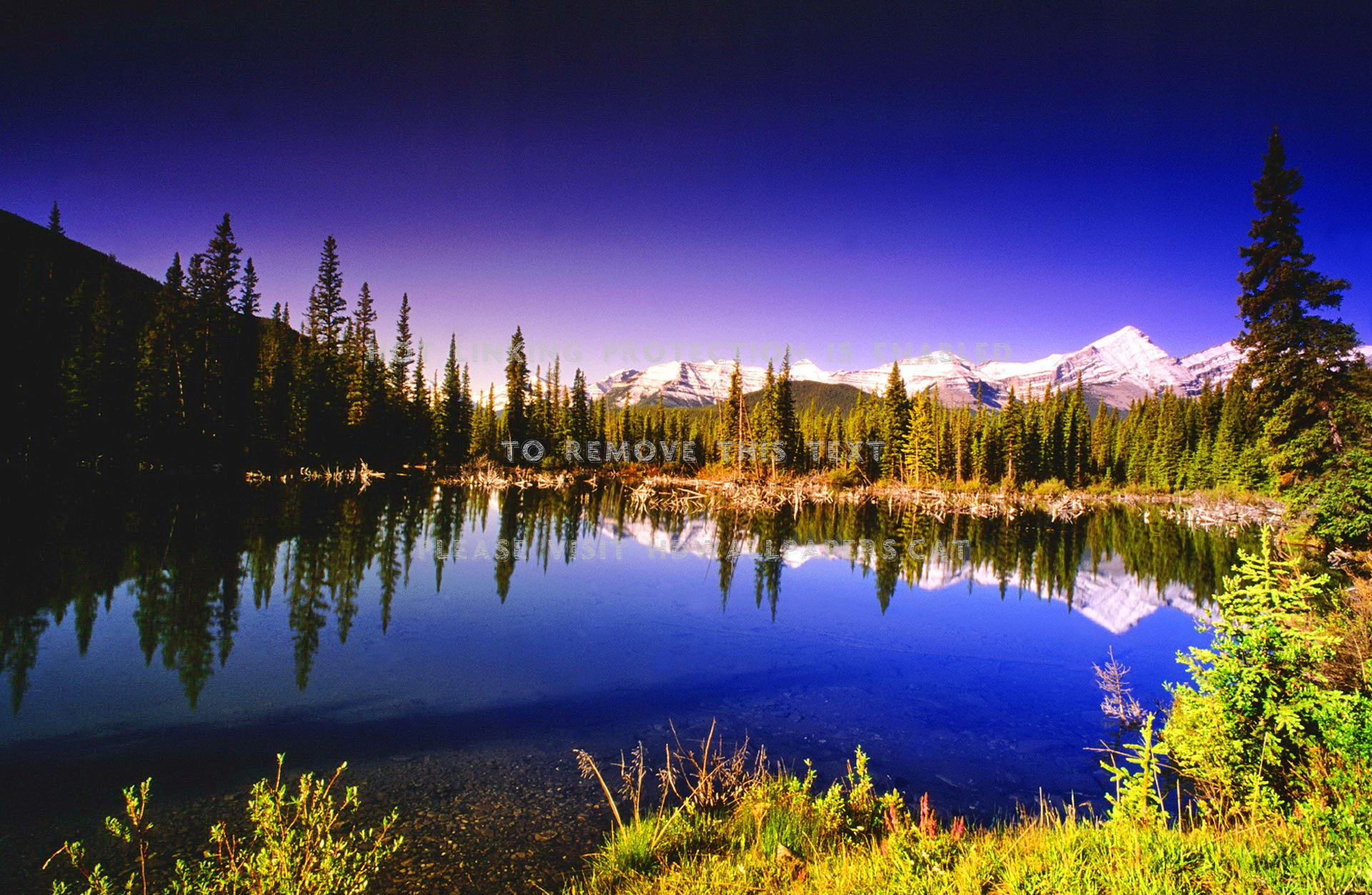 rocky mountain reflections at sunrise shore