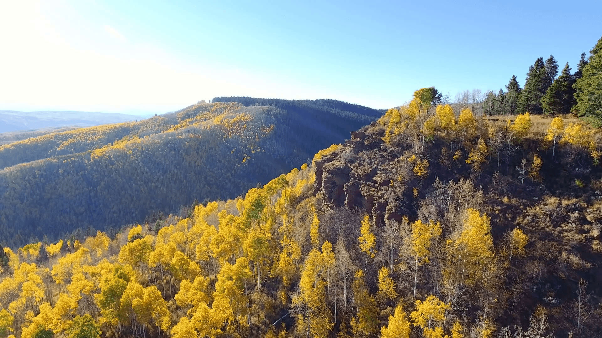 Flying past a cliff surrounded by fall foliage in Autumn in the Rocky Mountains