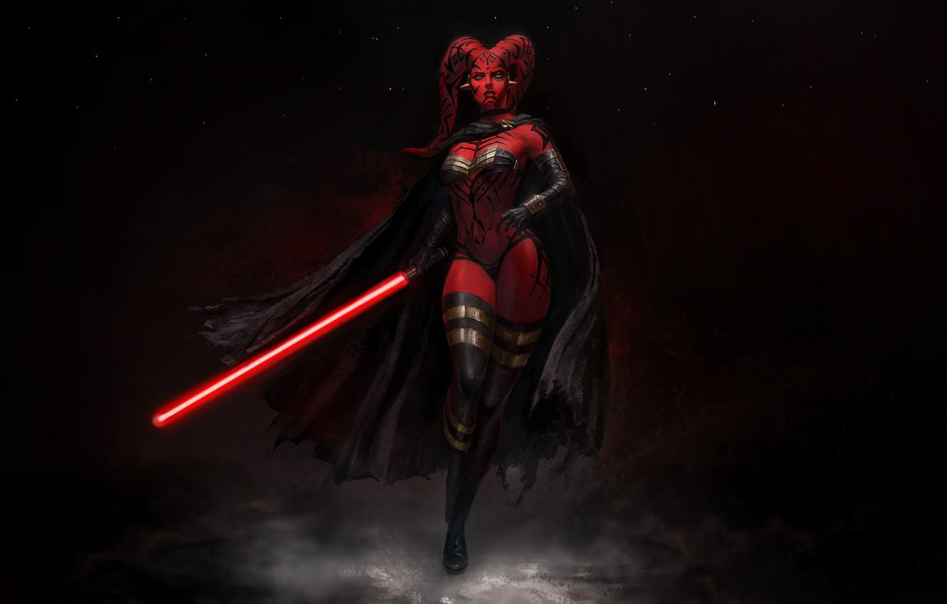 Wallpapers Girl, Star Wars, Style, Girl, Sword, Dark Side, Fantasy, Cloak, Lightsaber, Art, Art, Sith, Style, Fiction, Figure, Sith image for desktop, section фантастика