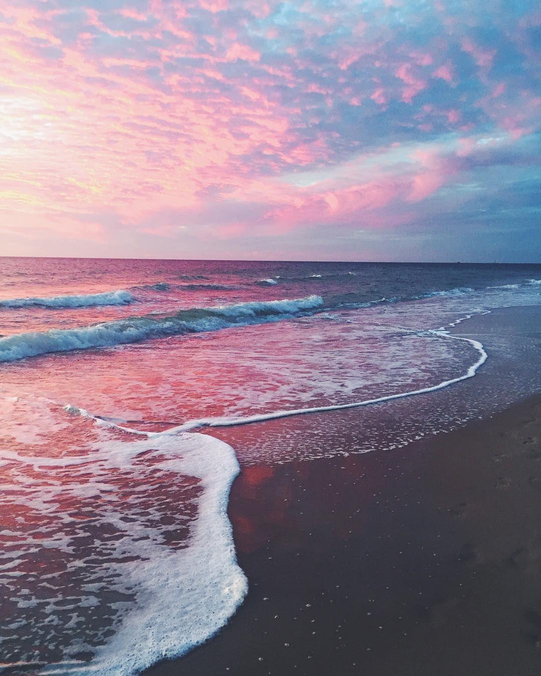 Aesthetic Sunset Pink Beach Wallpaper