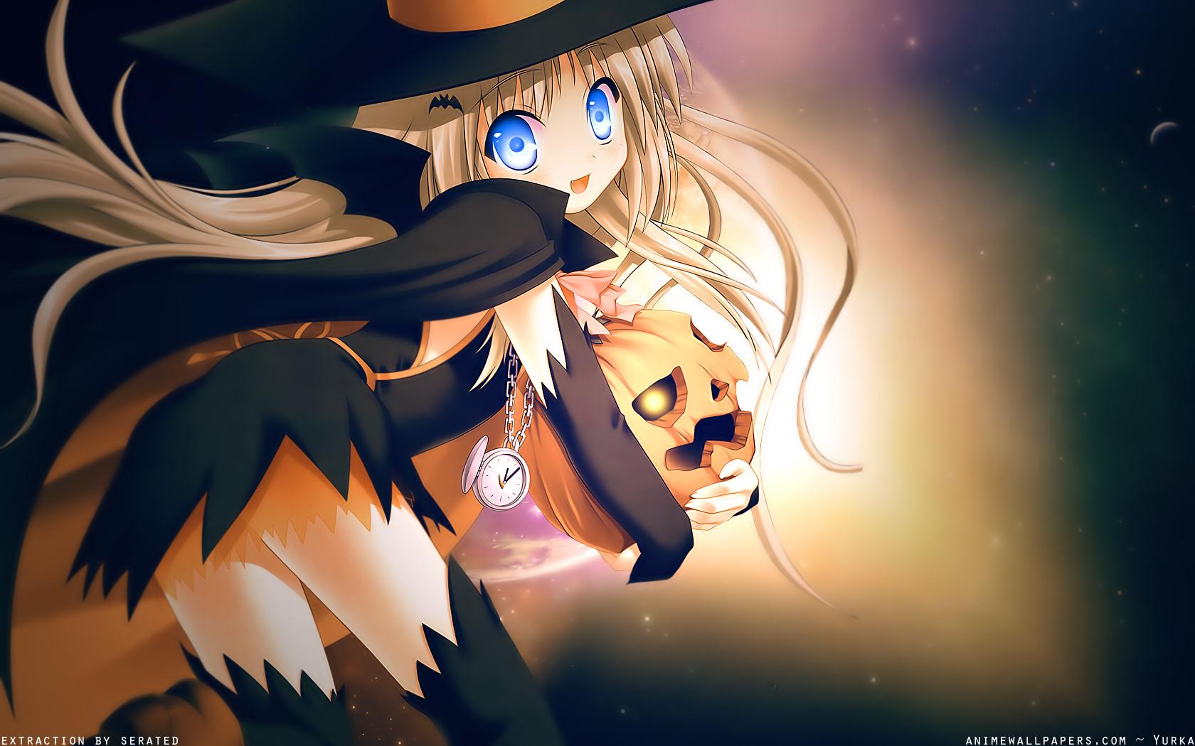 Halloween, anime girls, pumpkins :: Wallpapers