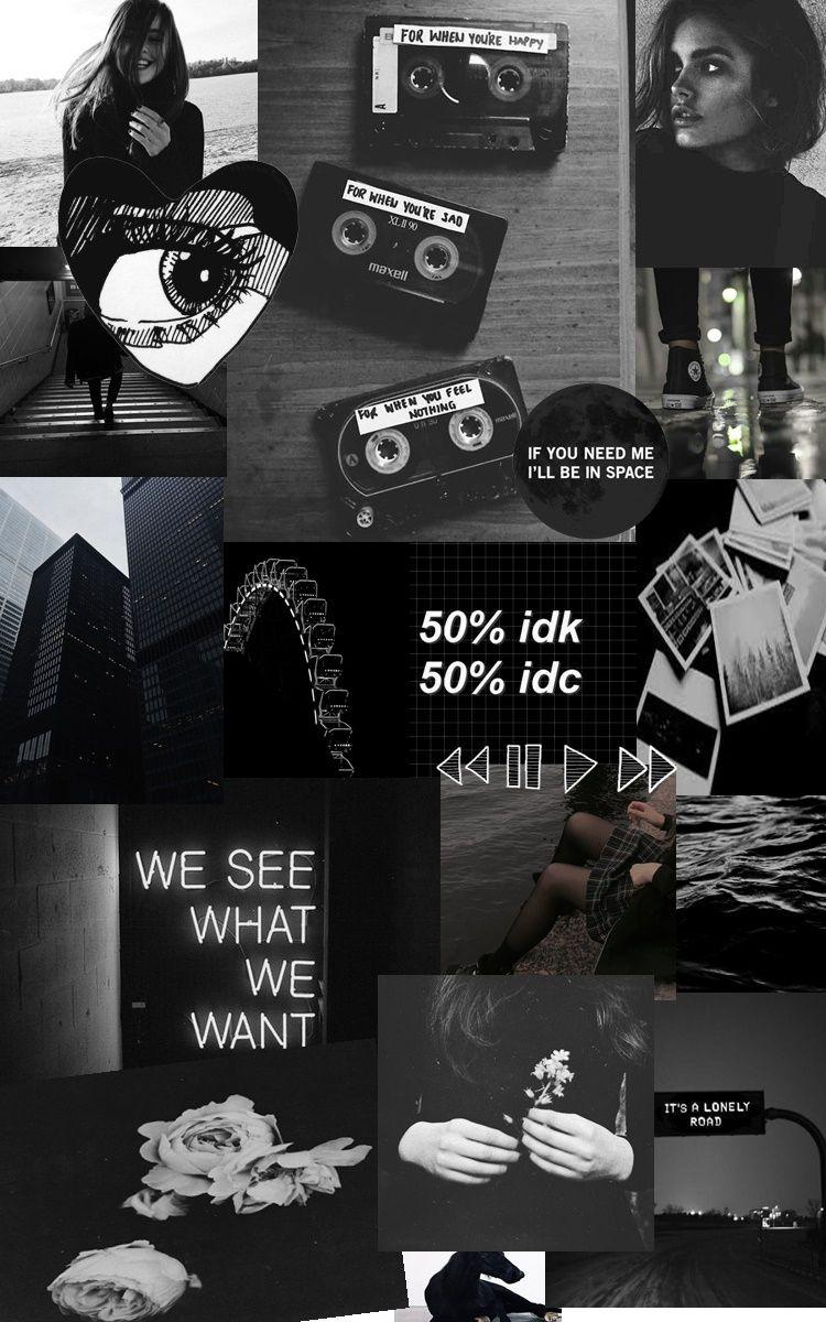 Black And Grey Aesthetic Collage Wallpapers - Wallpaper Cave