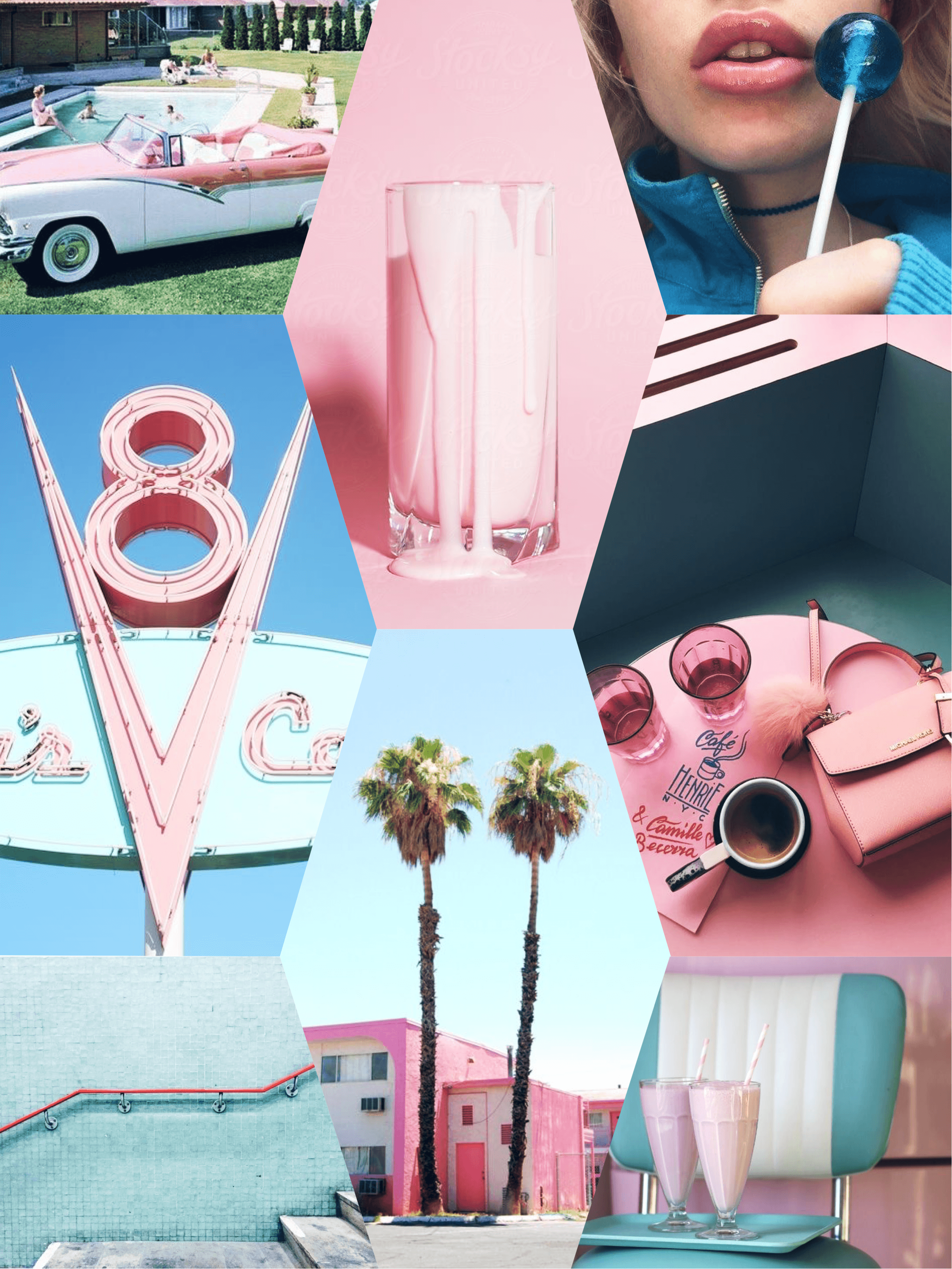 Vintage pink and blue 50's retro iPhone wallpapers