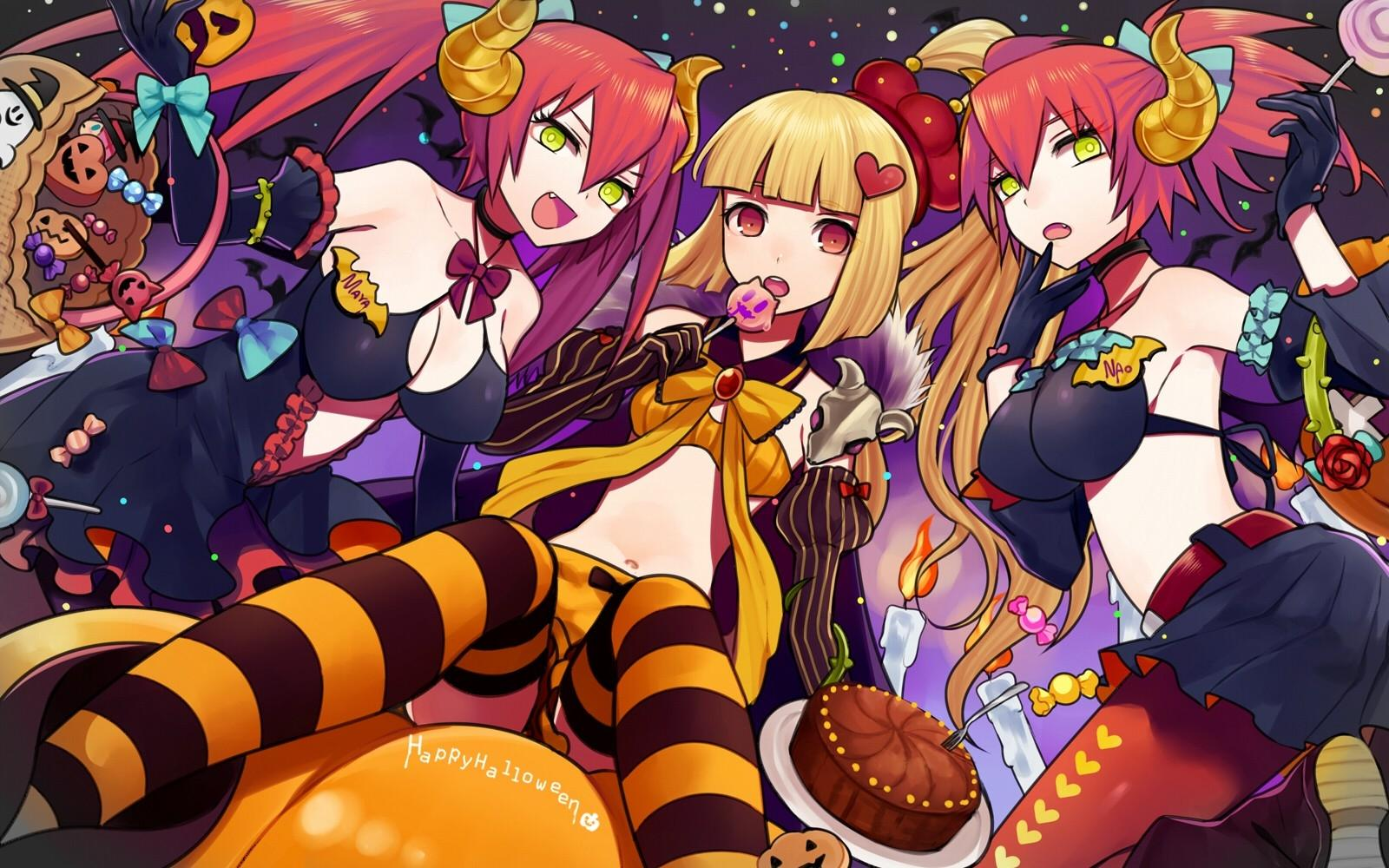 blondes halloween candy cleavage skirts horns red eyes short