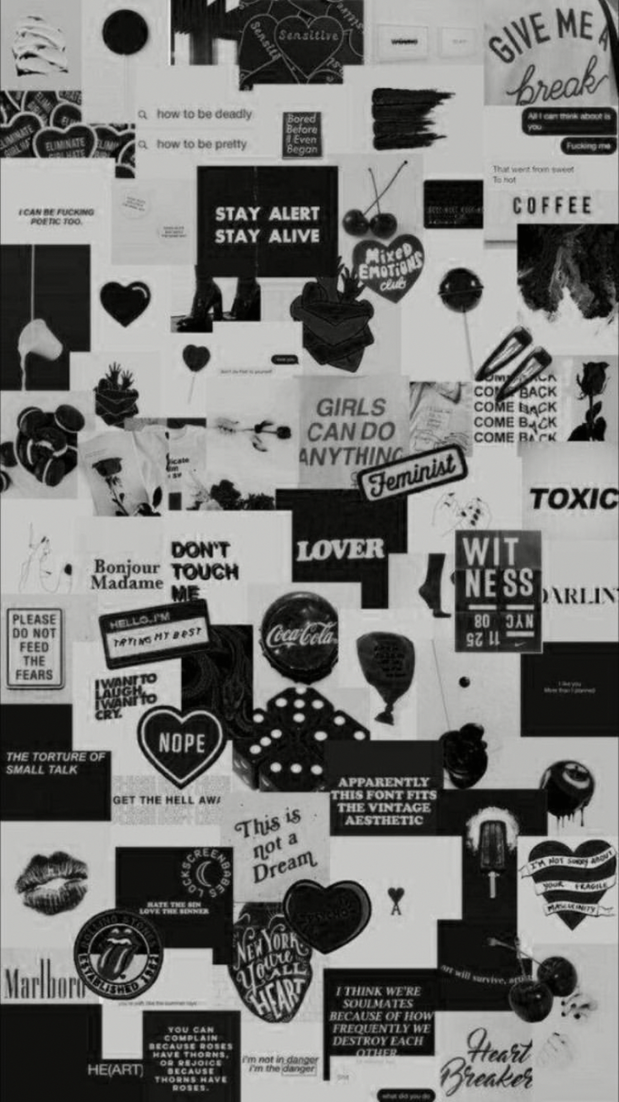 black and grey aesthetic collage wallpapers