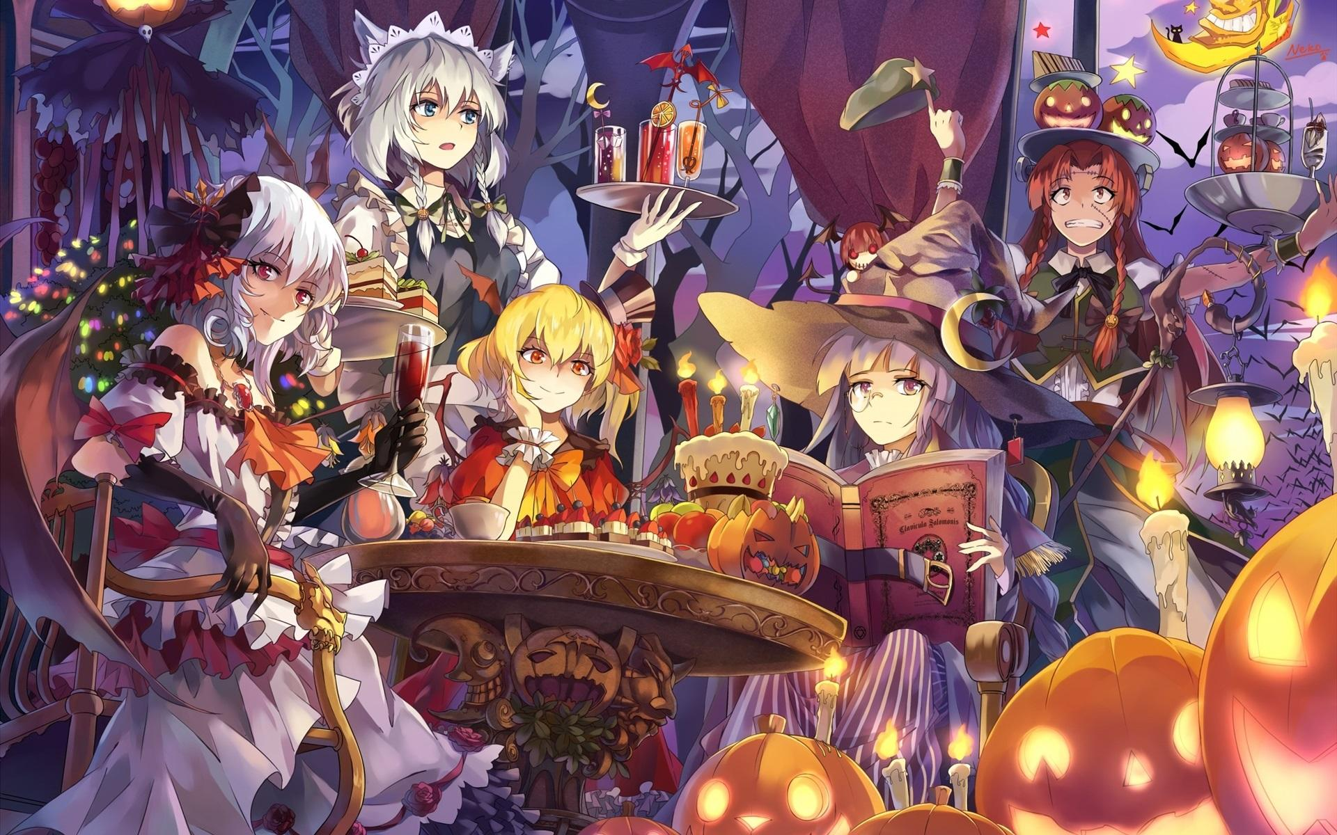 Wallpapers Beautiful anime girls, halloween 1920x1200 HD