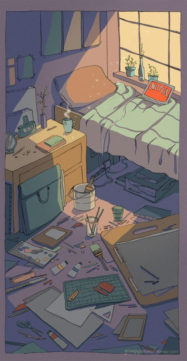 Bedroom Drawing: Aesthetic Anime Bedroom Wallpapers