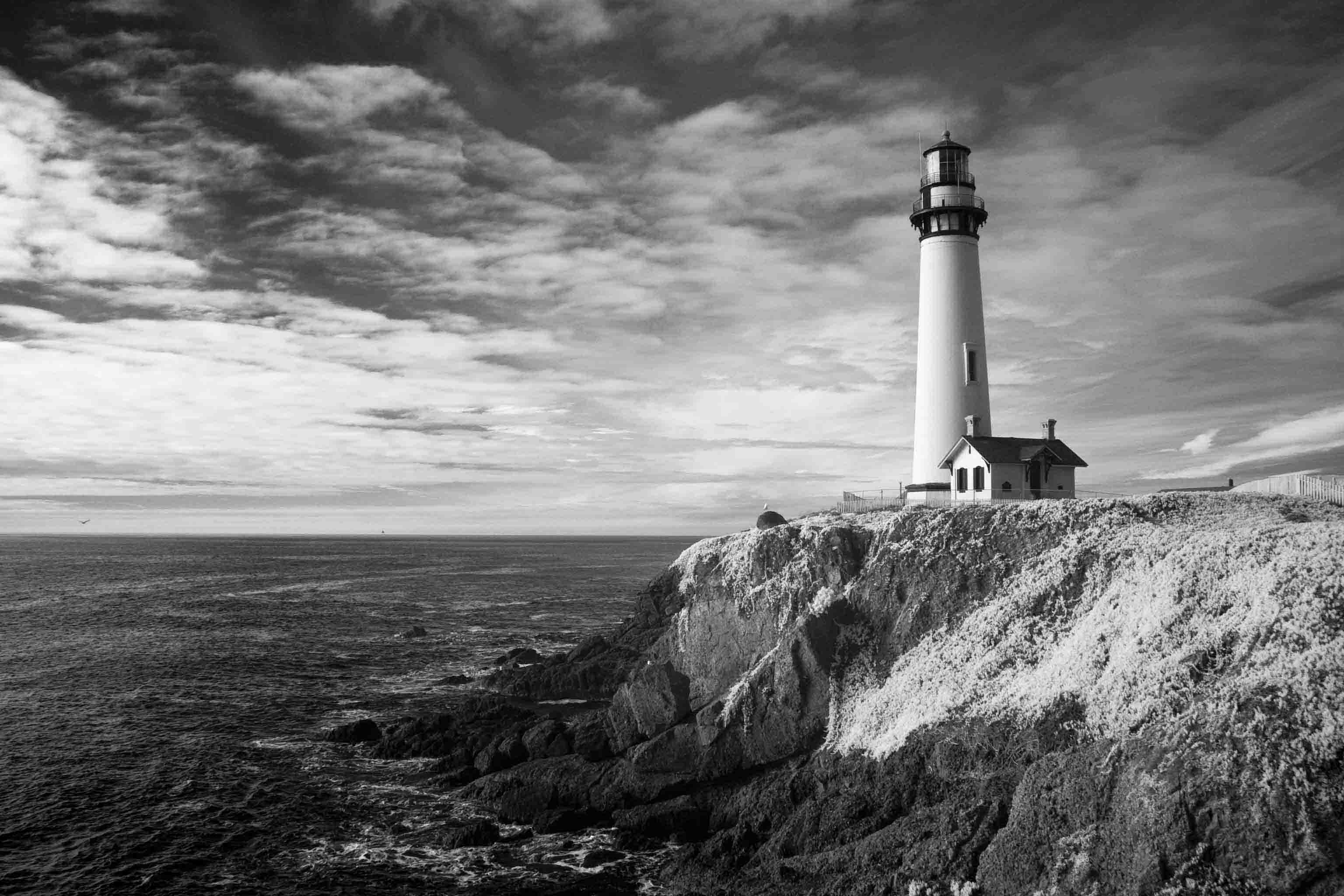 Lighthouse Coast Black And White Wallpapers - Wallpaper Cave