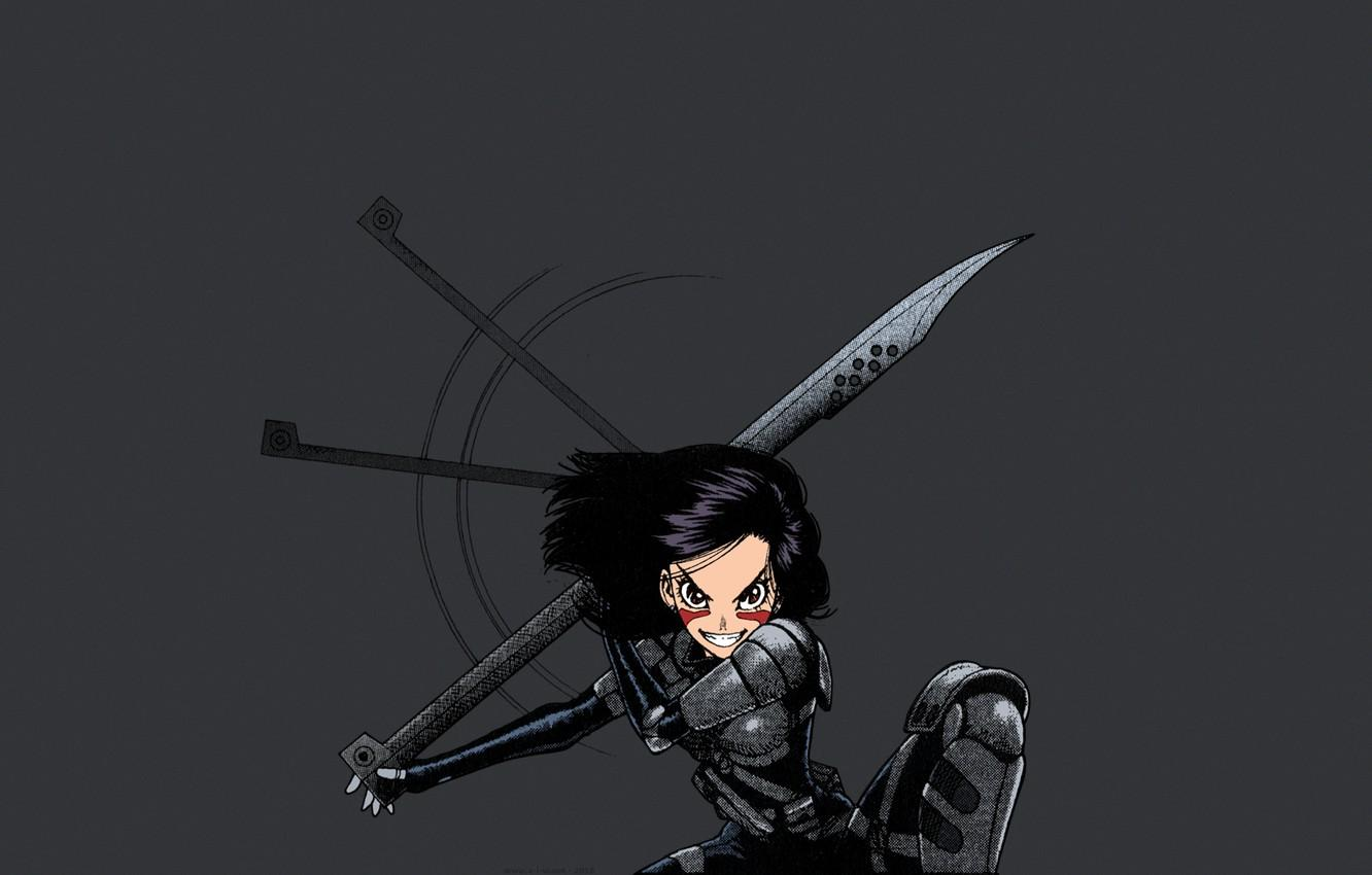 Wallpapers warrior, anime girl, anime, Alita, simple backgrounds
