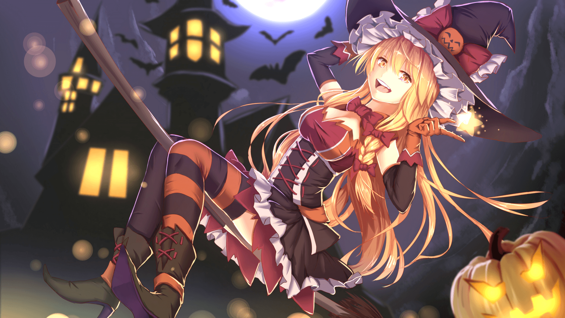 Download 1920x1080 Anime Girl, Halloween Costume, Witch