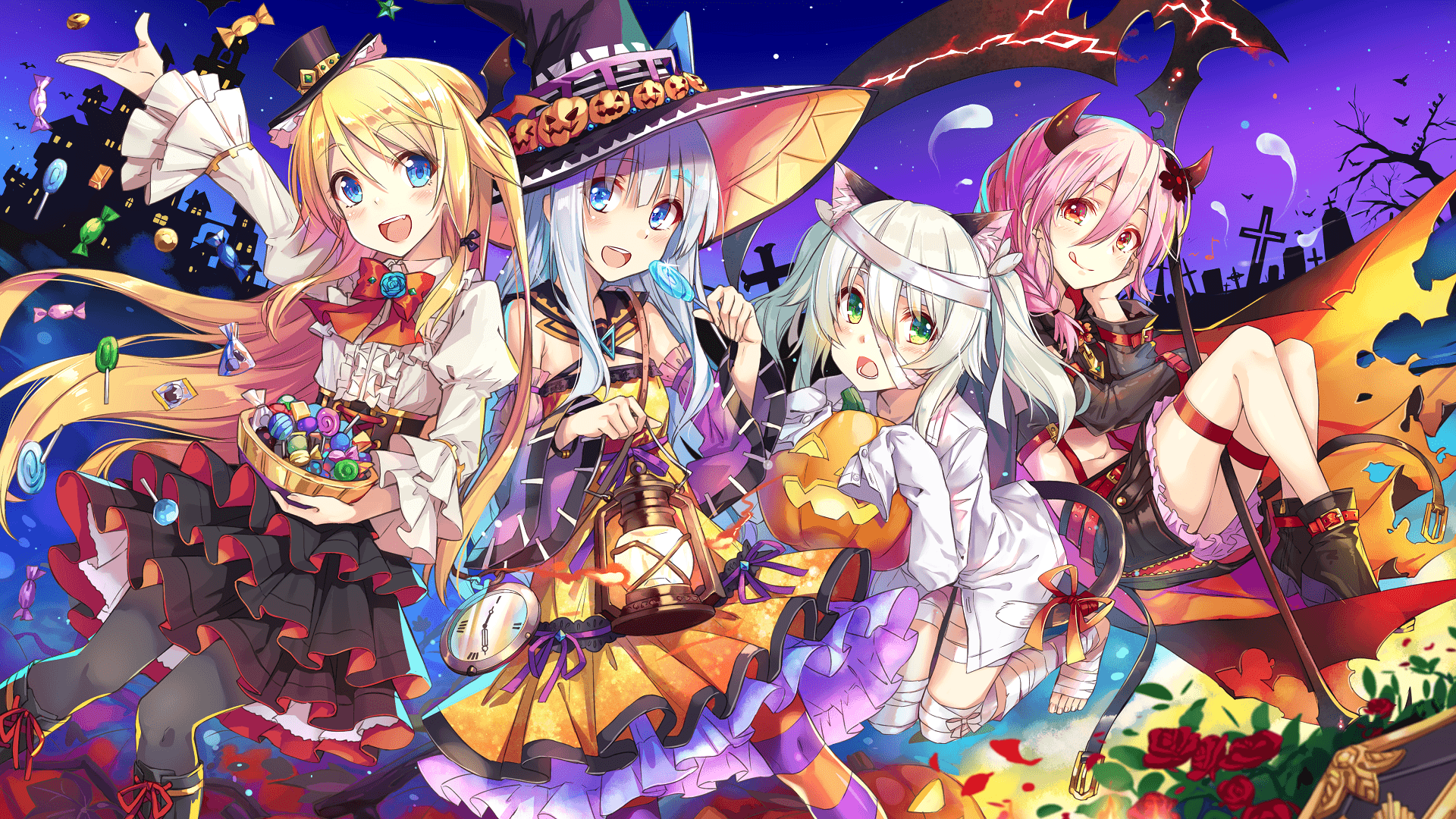 Download 1920x1080 Anime Girls, Halloween 2016, Witch