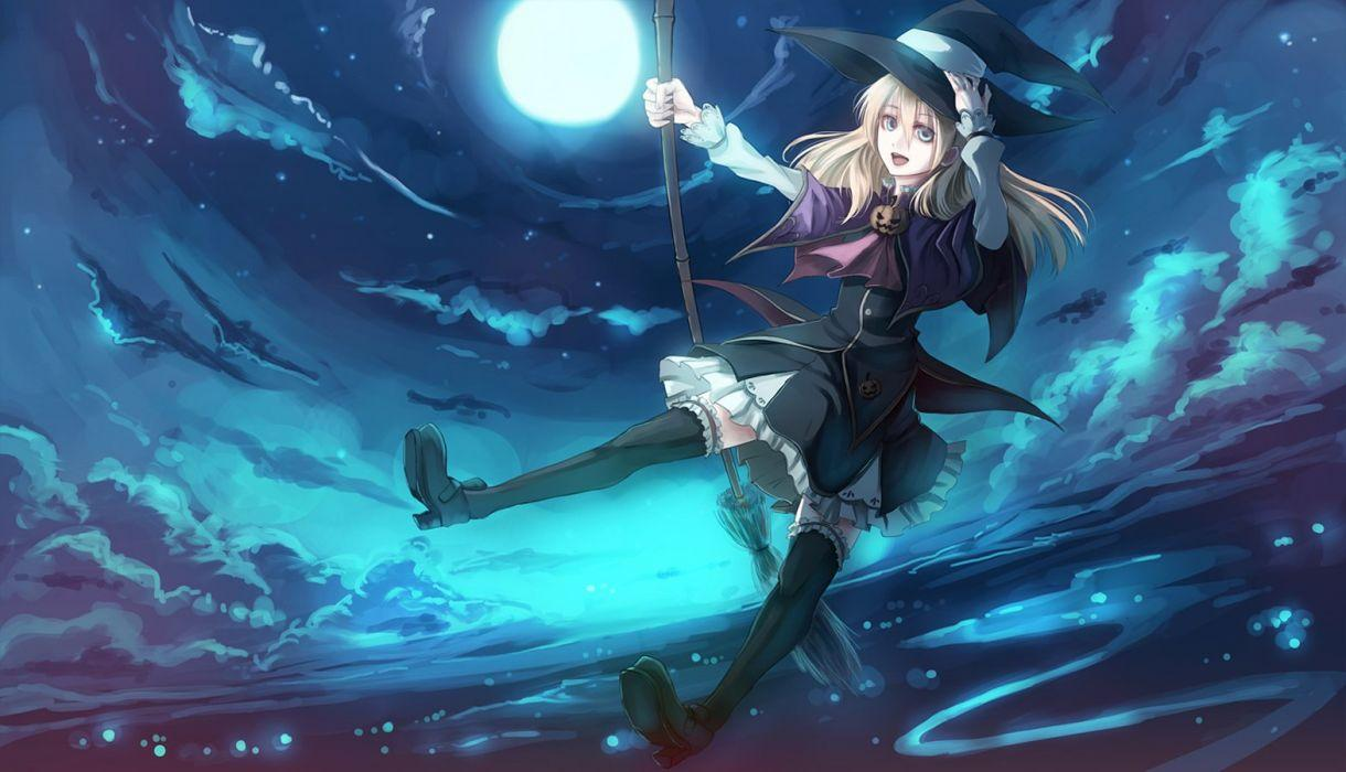 Anime girl Paseri Halloween Scnery Witch Hat Broom wallpapers