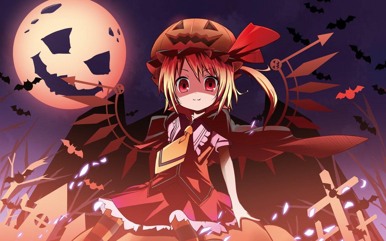 Blondes video games Touhou wings Halloween Moon vampires red