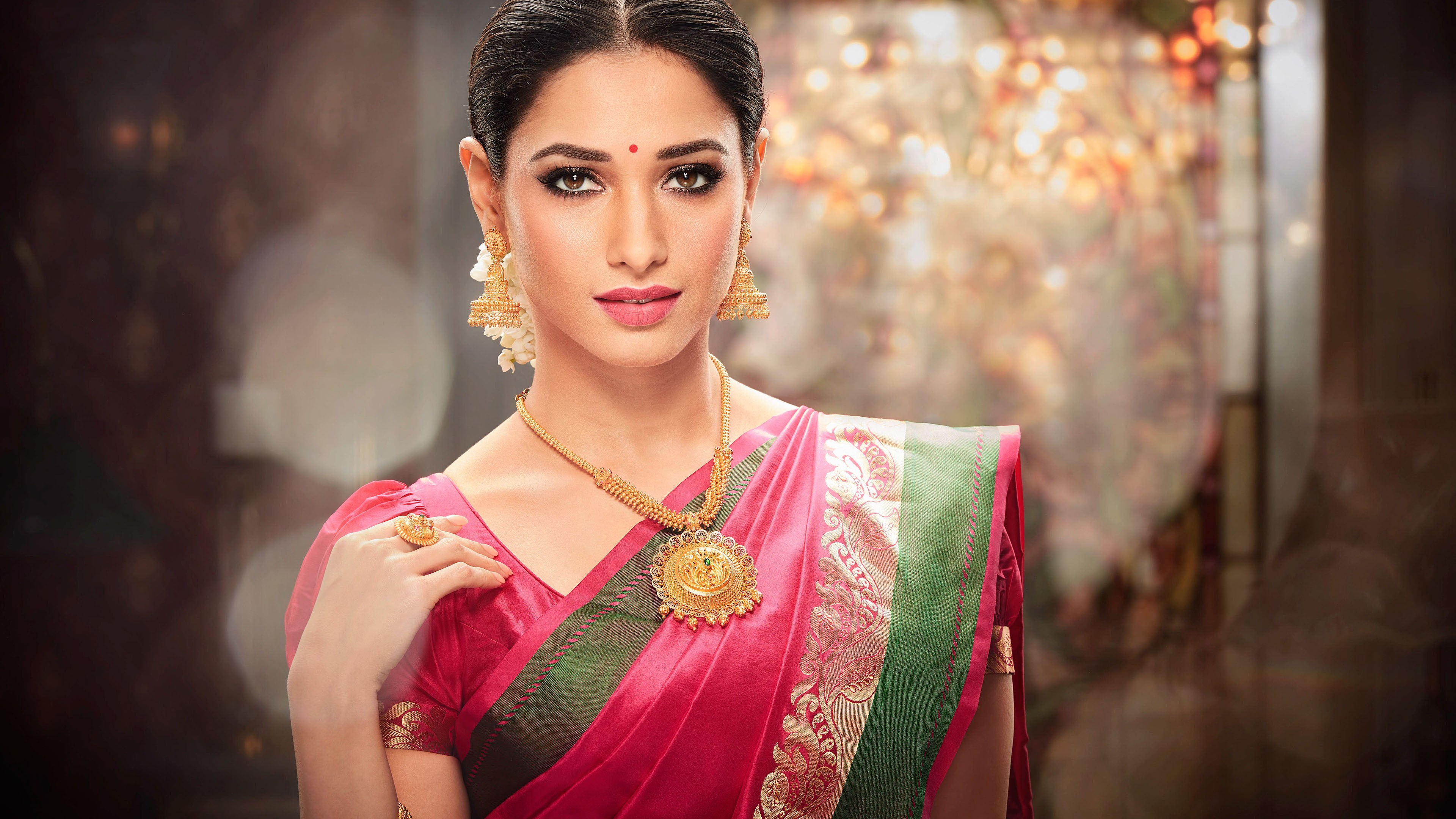 Wallpapers Tamannaah, Ethnic wear, Traditional, Saree, South Indian, 4K, Celebrities / Most Popular,