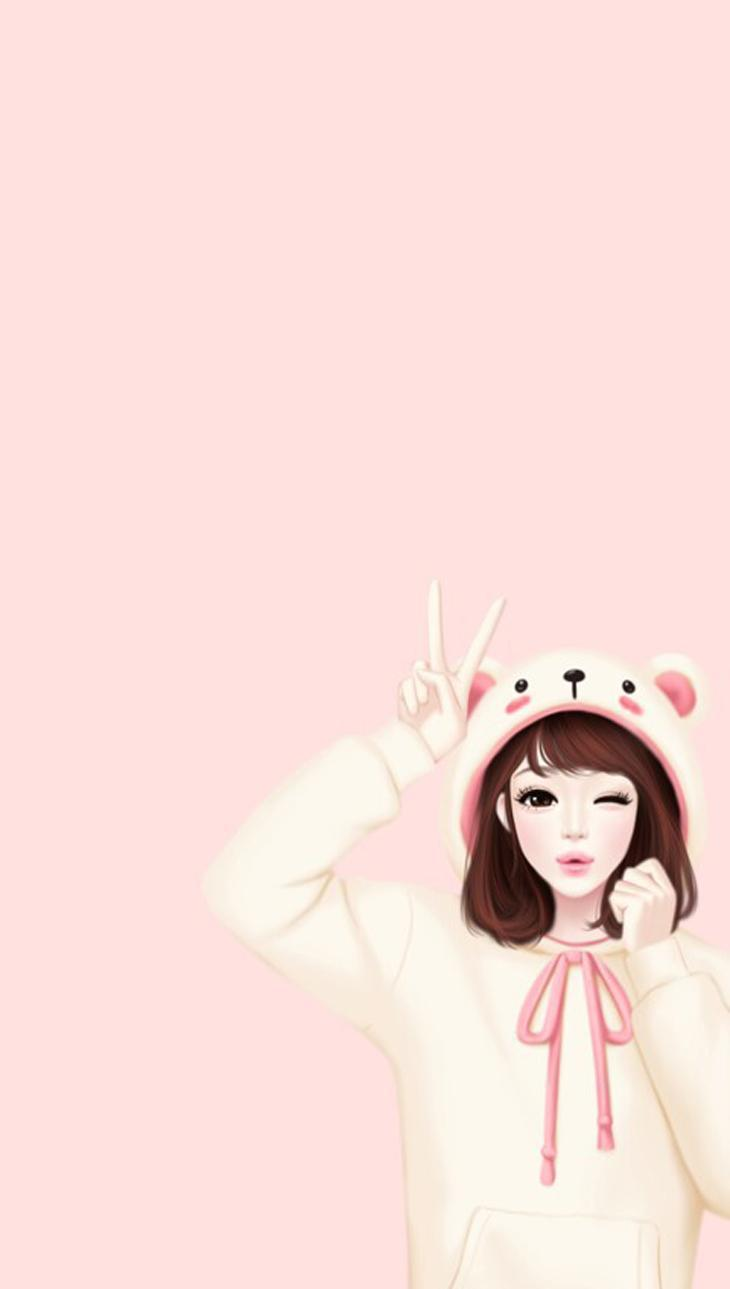 Cute Anime Cartoon Korean Pink Wallpapers Wallpaper Cave