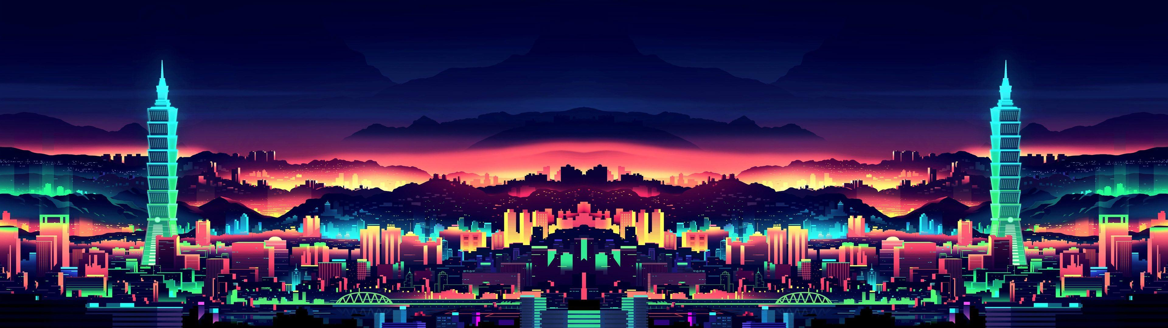 Neon City Computer Wallpapers Wallpaper Cave