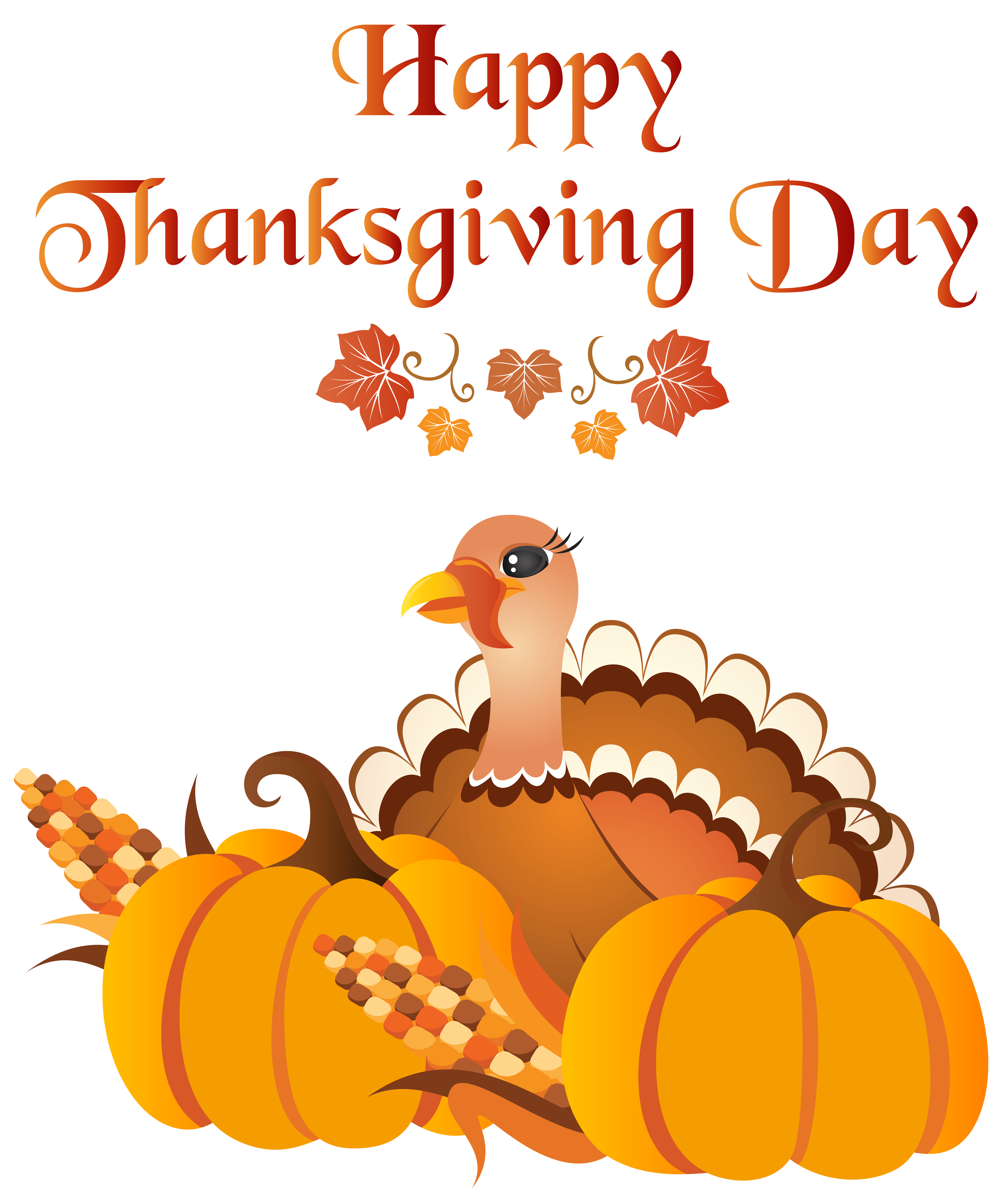 Happy Thanksgiving Day with Turkey PNG Clip Art Image