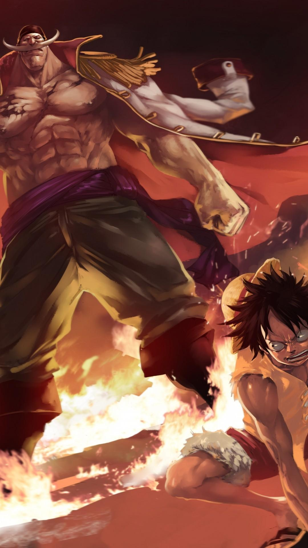 Download 1080x1920 One Piece, Monkey D. Luffy, Whitebeard