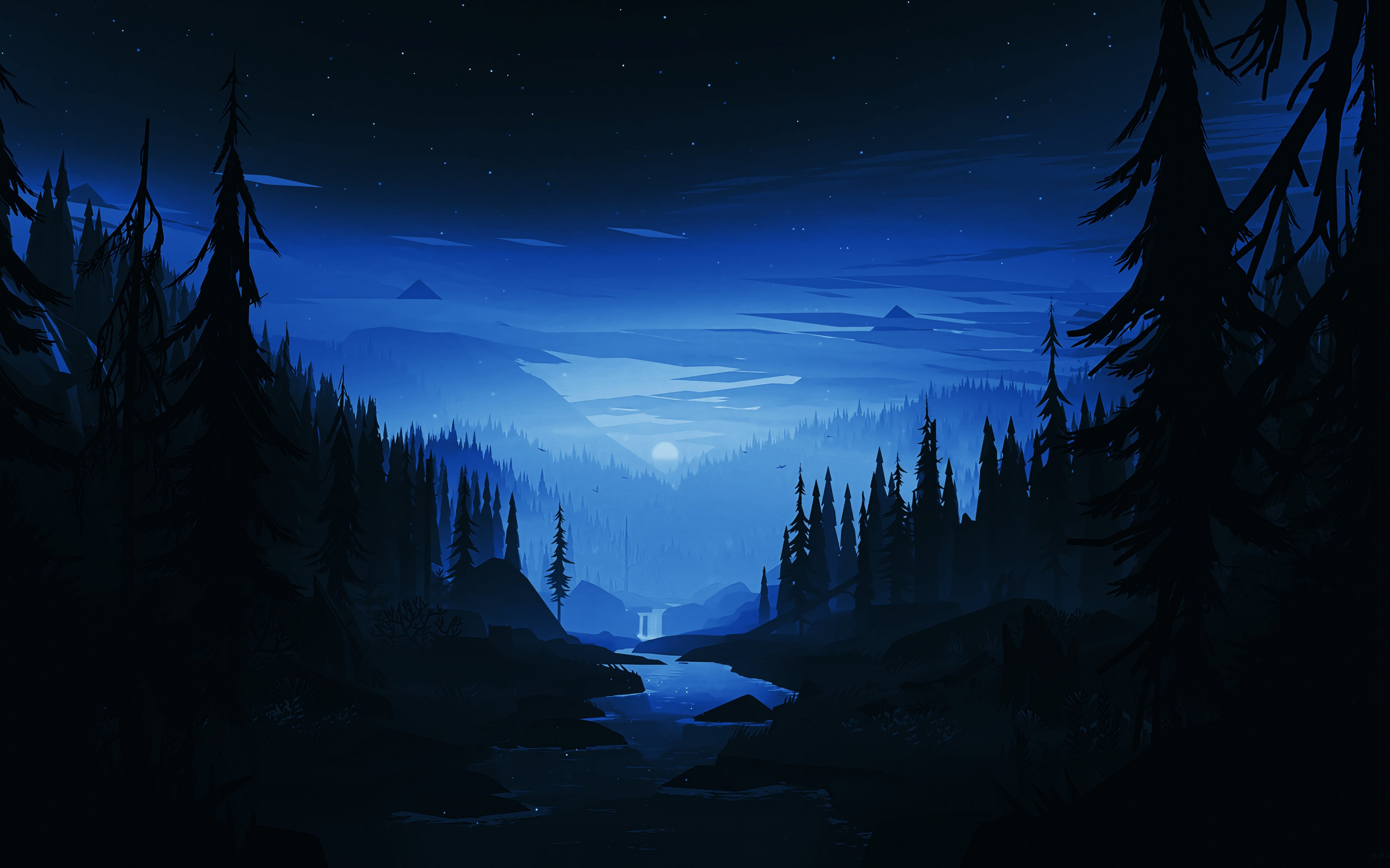 Download 3840x2400 wallpapers dark night, river, forest, minimal