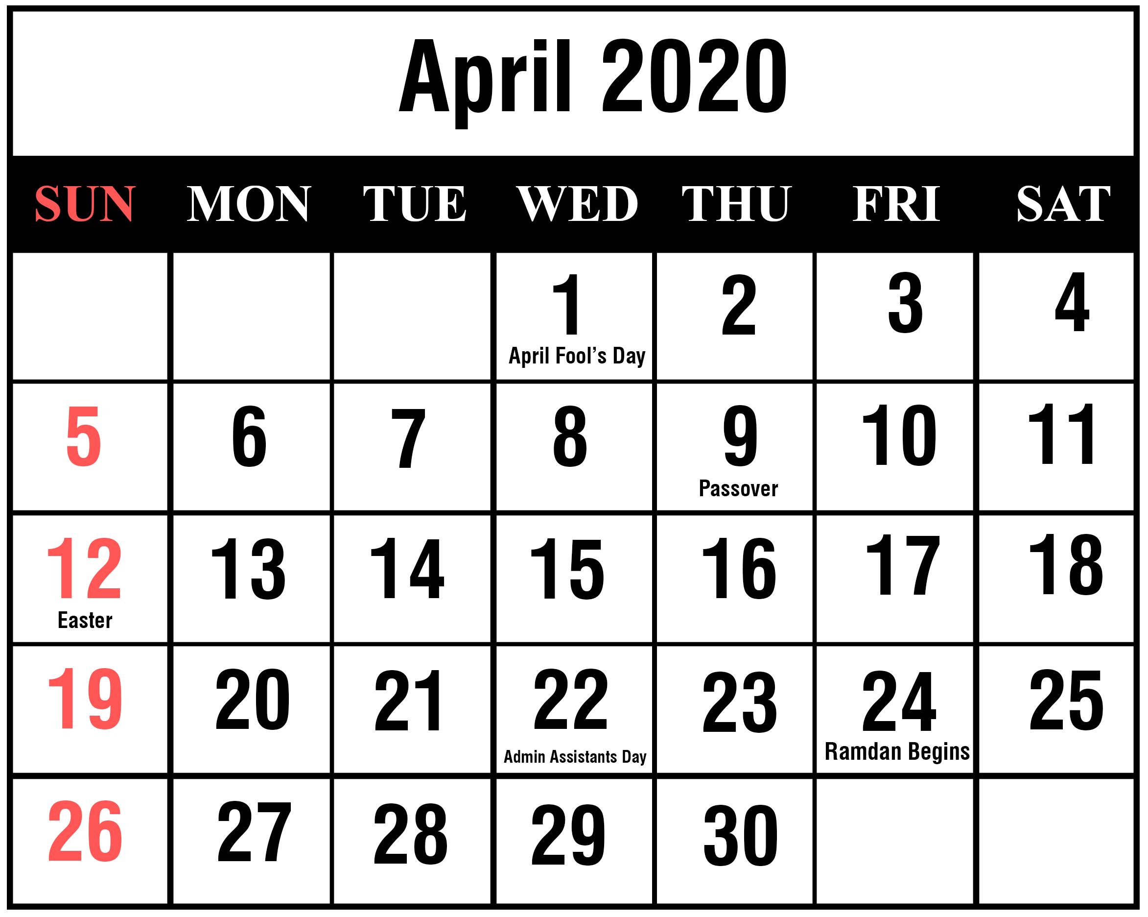 April 2020 Calendar Wallpapers Wallpaper Cave
