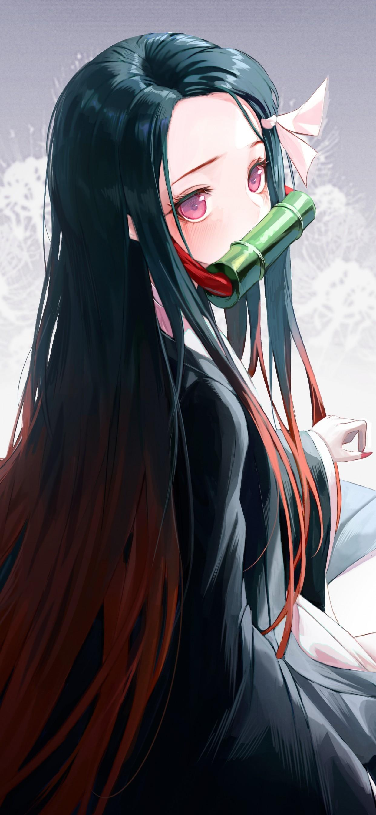 Download 1242x2688 Kamado Nezuko, Cute, Long Hair, Black Dress