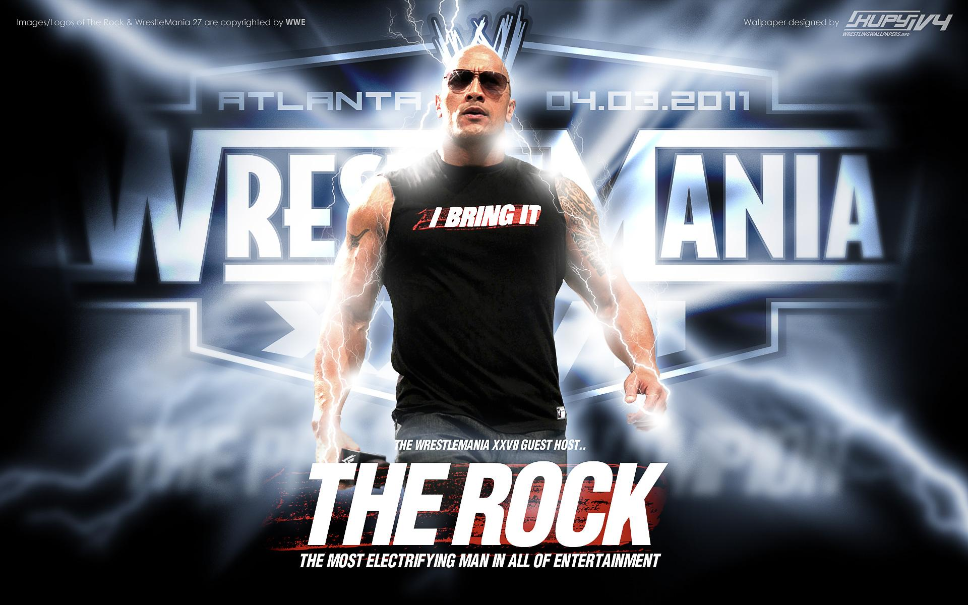 NEW WrestleMania 27 The Rock wallpaper!