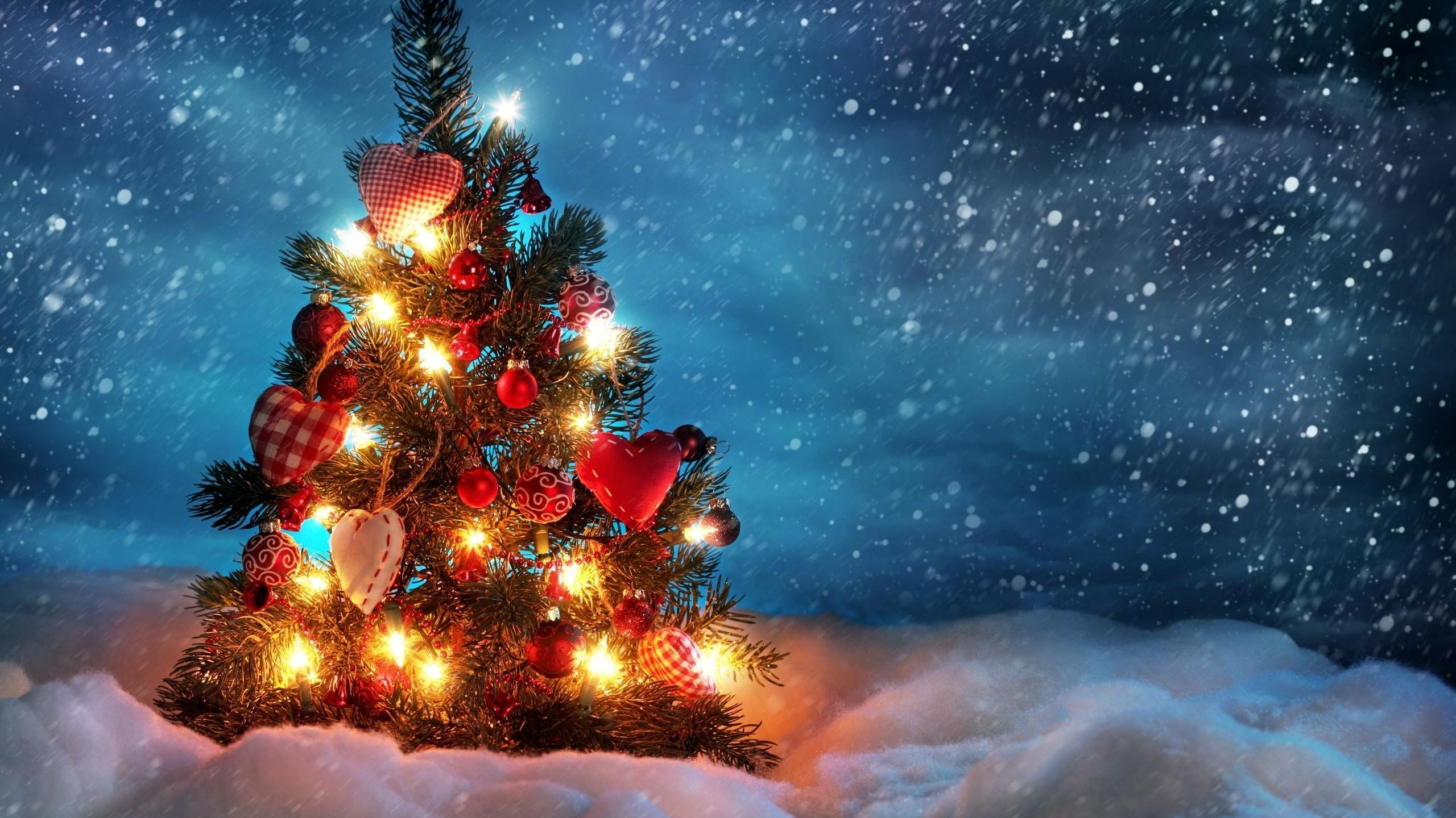 Download 2560x1440 Christmas 2019, Snow, Decorations, Light