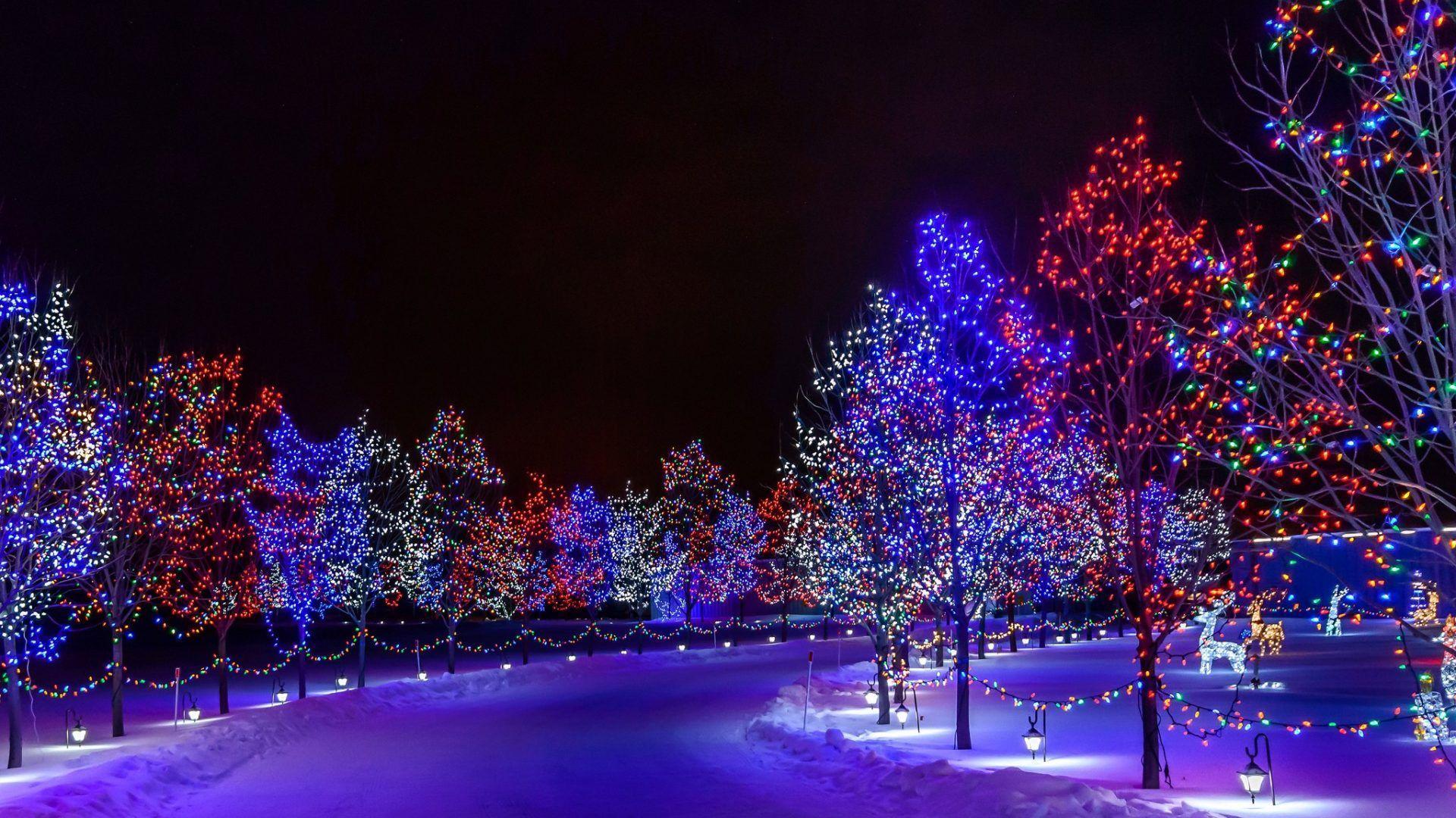 Christmas Light Snow Wallpapers Wallpaper Cave