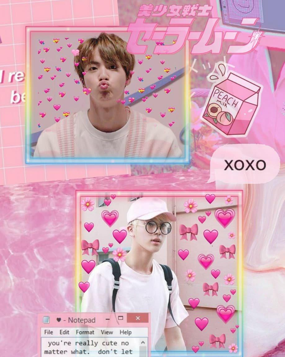 Pink Bts Jin Aesthetic Wallpaper