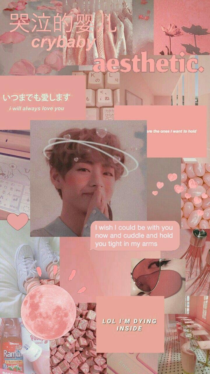 v pink collage aesthetic wallpapers