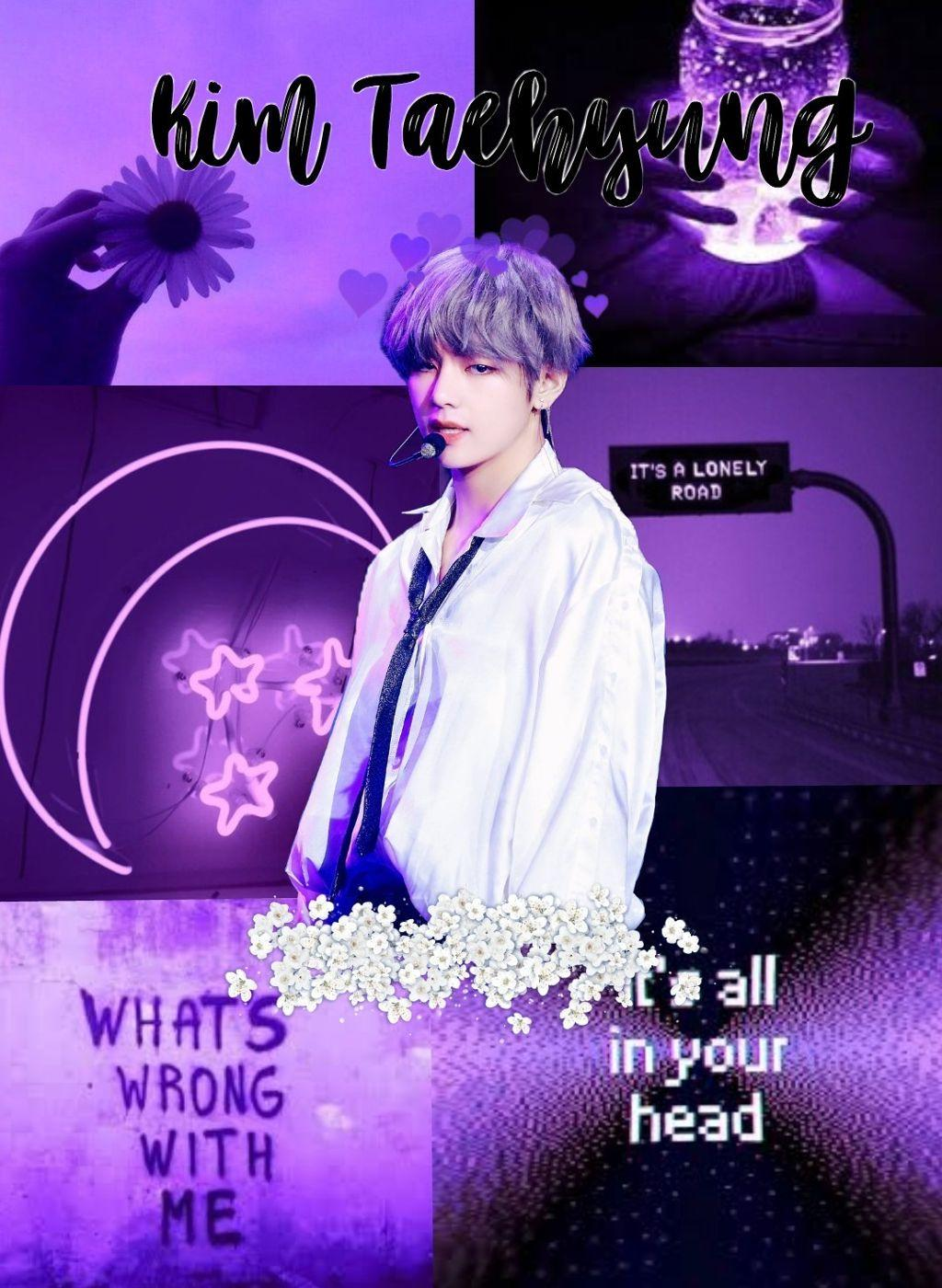 freetoedit kim taehyung purple aesthetic v wallpapers