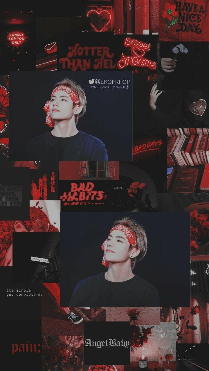 Taehyung Black & Red Aesthetic Wallpapers