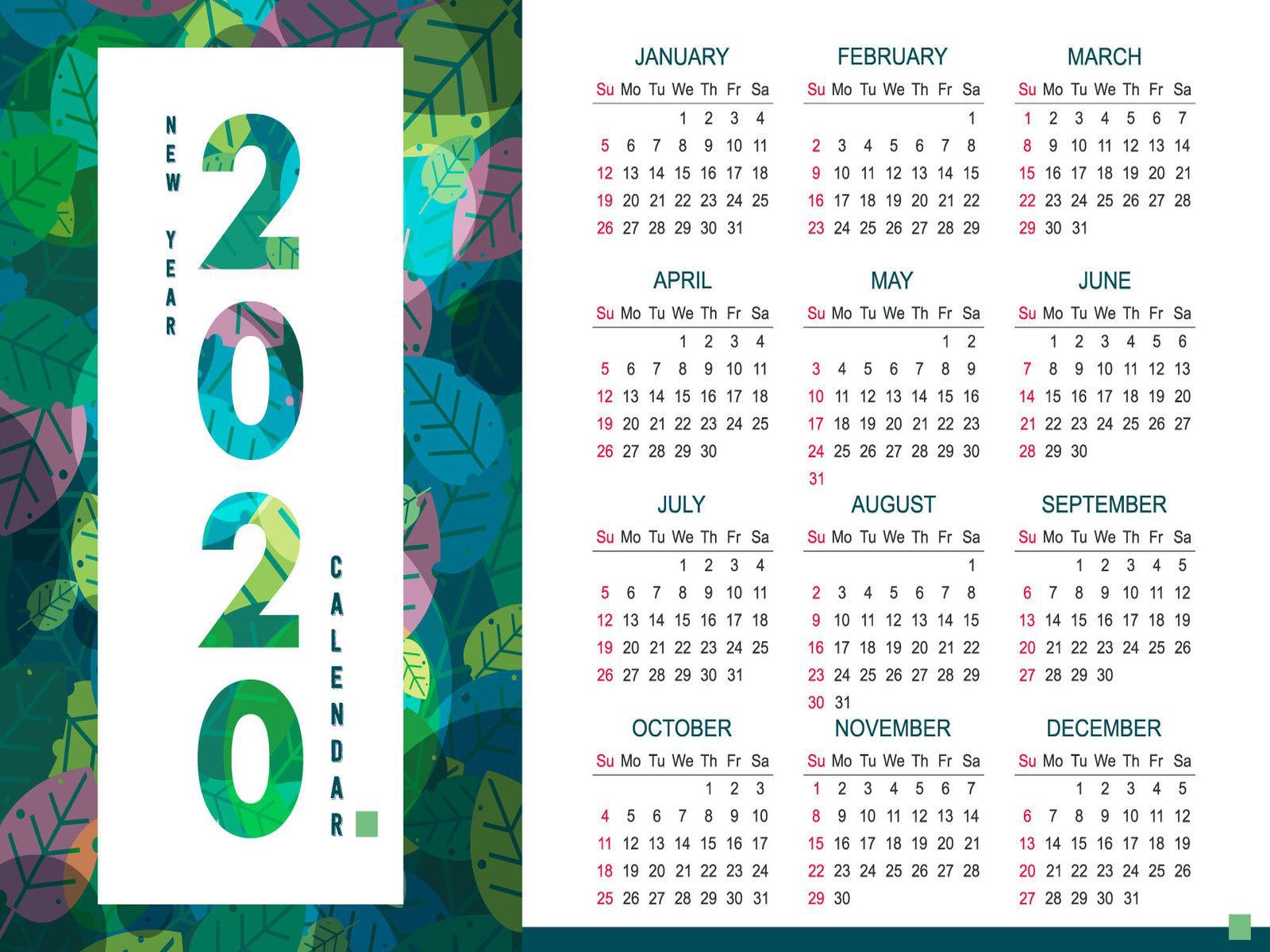 Year Calendar 2020 2020 Tileco